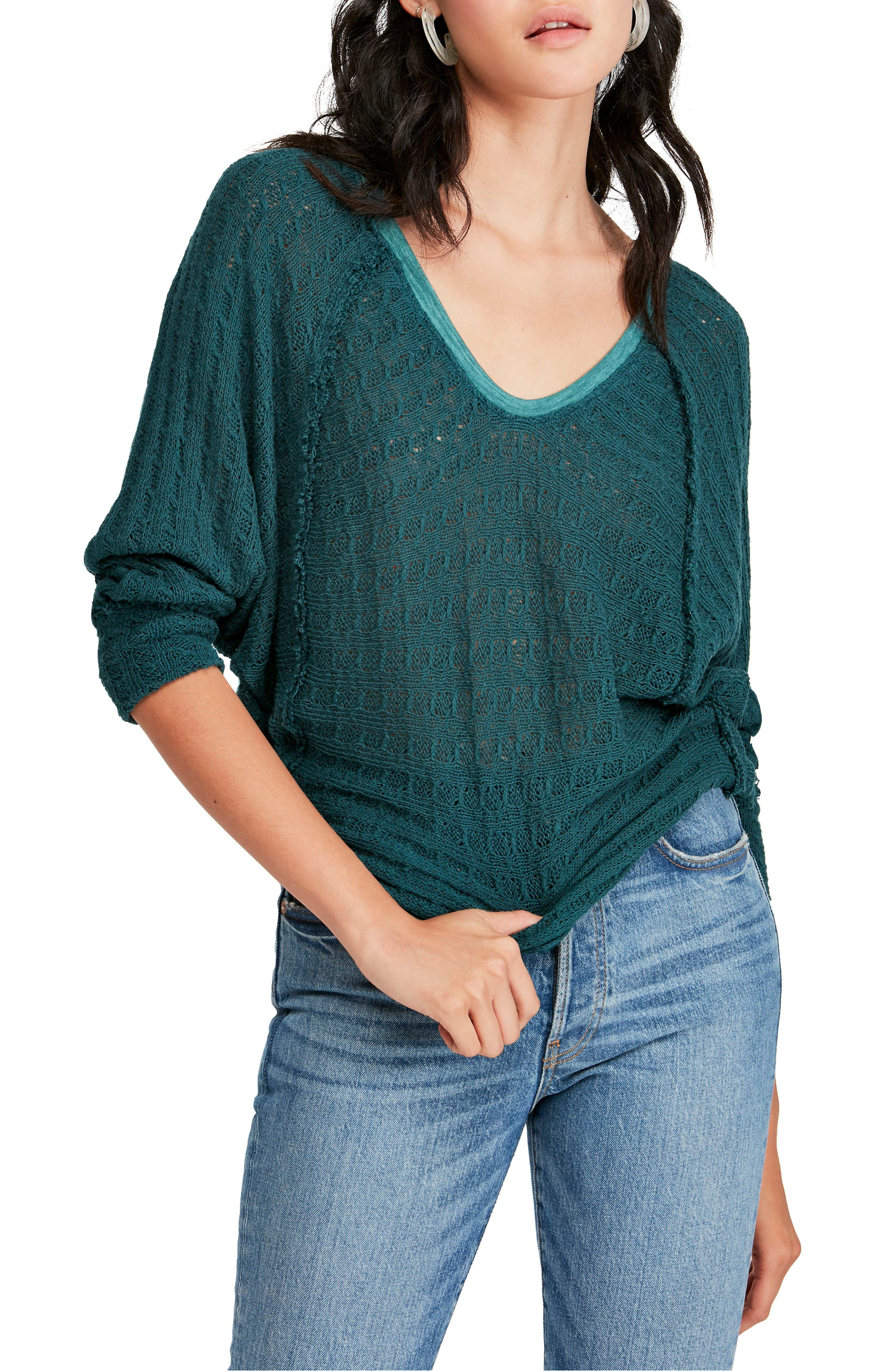 FREE PEOPLE, Thien's Hacci Top, Main thumbnail 1, color, TURQUOISE