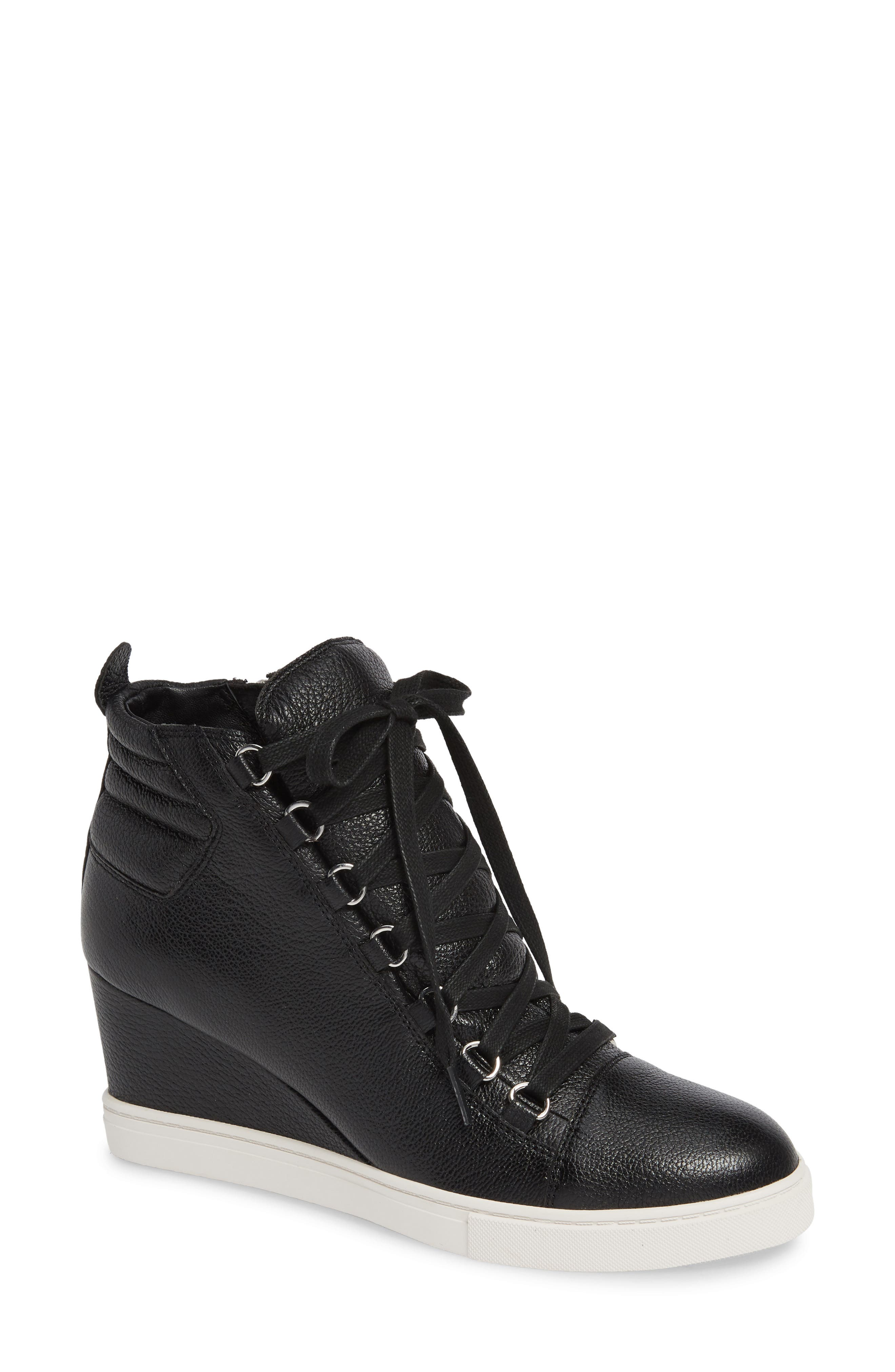 LINEA PAOLO, Fenton Wedge Sneaker, Main thumbnail 1, color, BLACK TUMBLED LEATHER