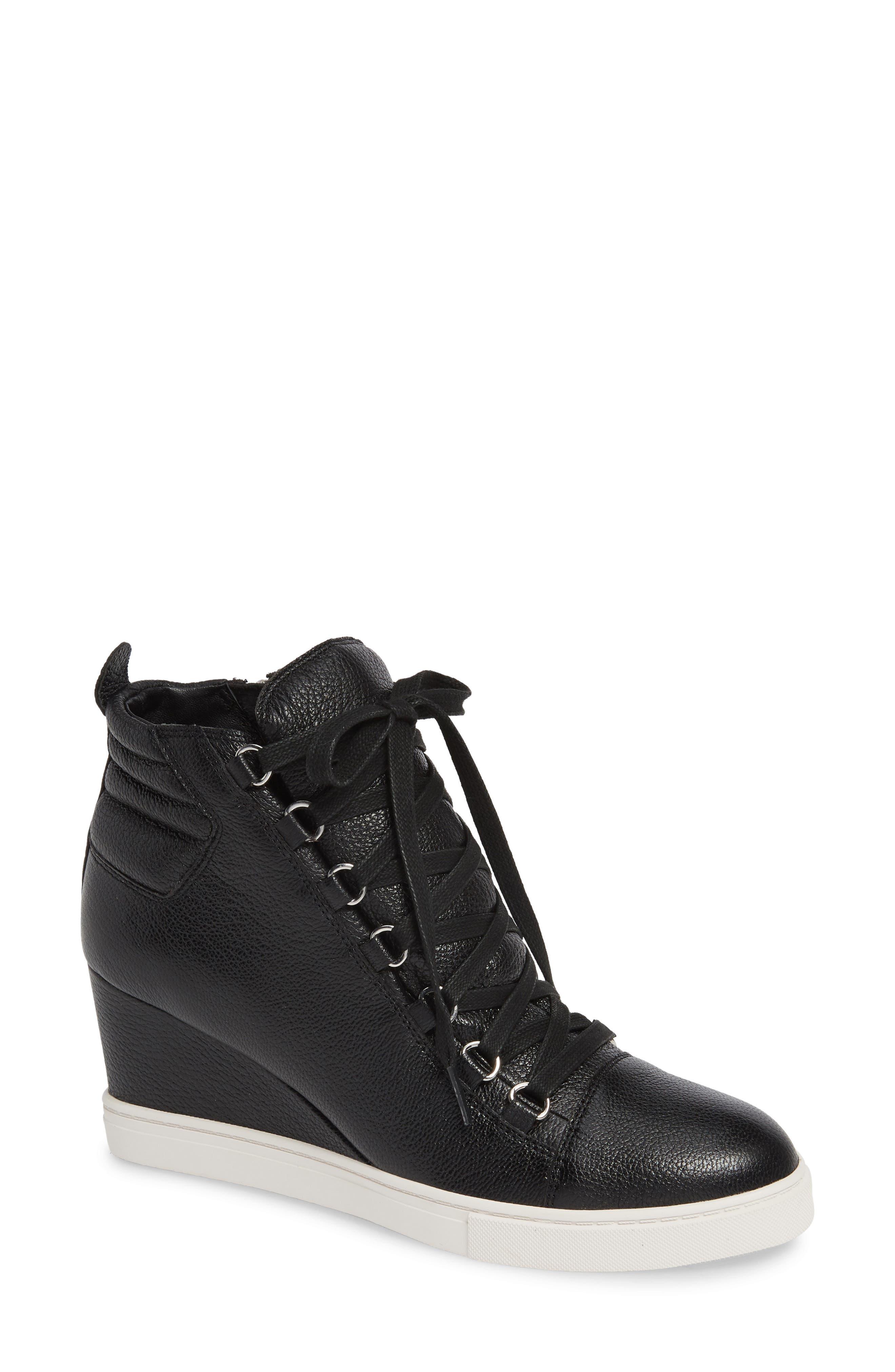 LINEA PAOLO Fenton Wedge Sneaker, Main, color, BLACK TUMBLED LEATHER