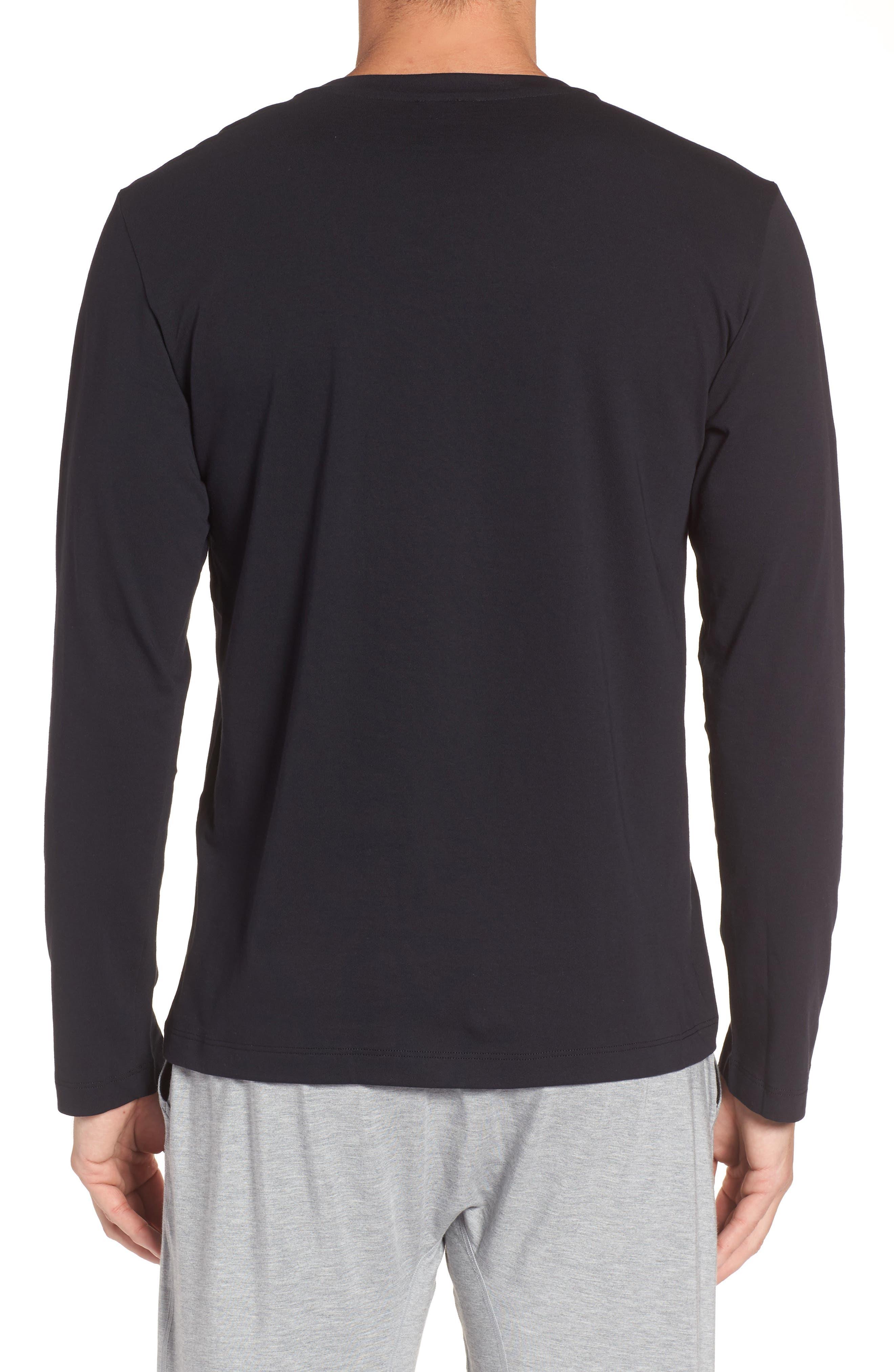 HANRO, Living Long Sleeve T-Shirt, Alternate thumbnail 2, color, BLACK