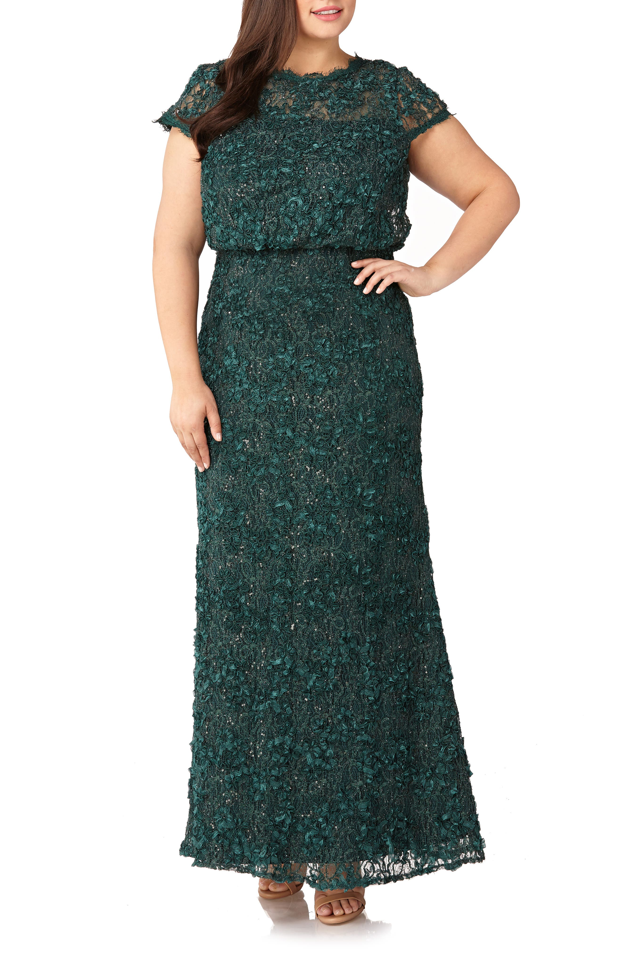 Plus Size Js Collections Sequin Lace Blouson Gown, Green