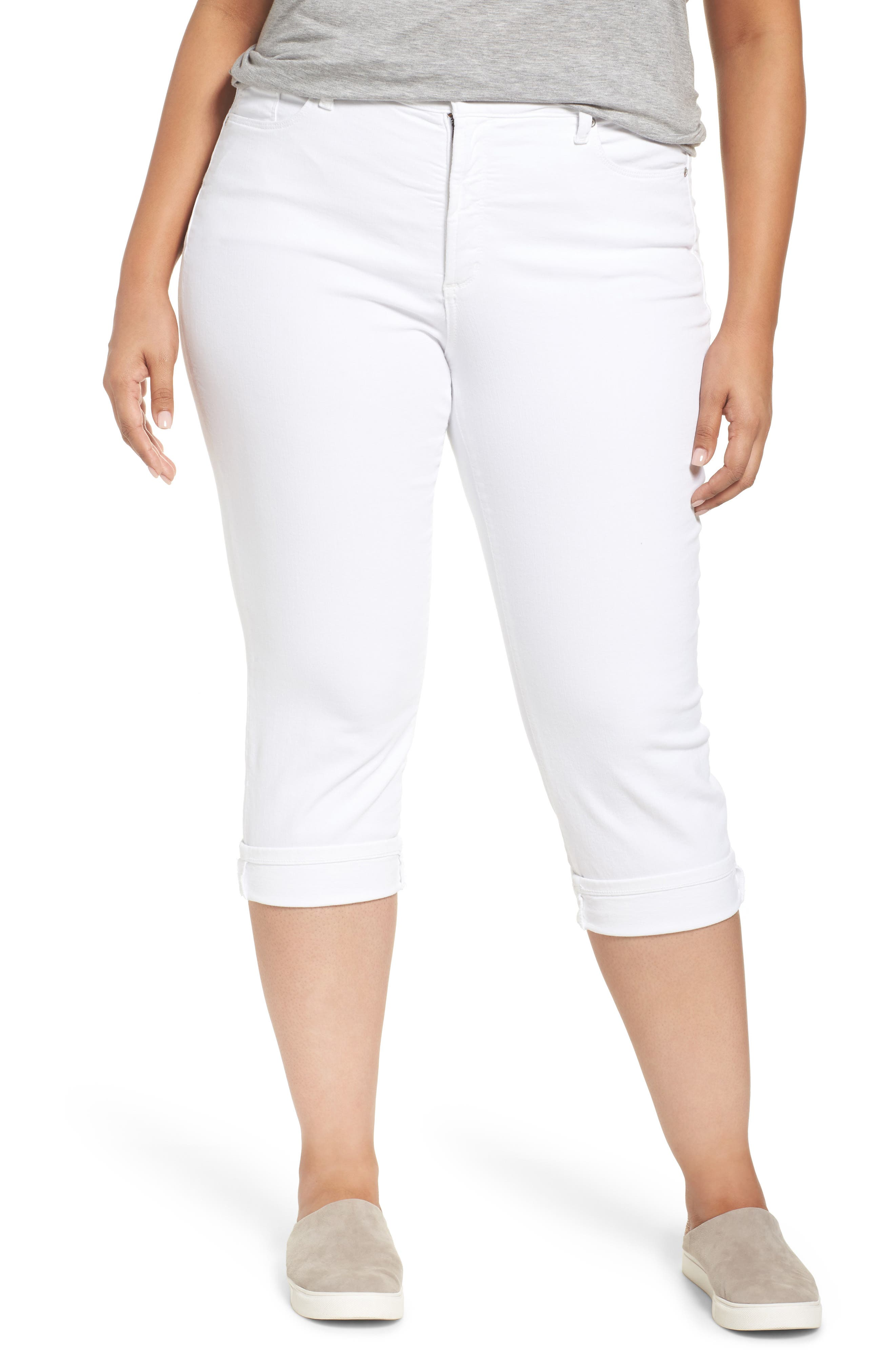 NYDJ, Marilyn Crop Cuff Jeans, Main thumbnail 1, color, WHITE
