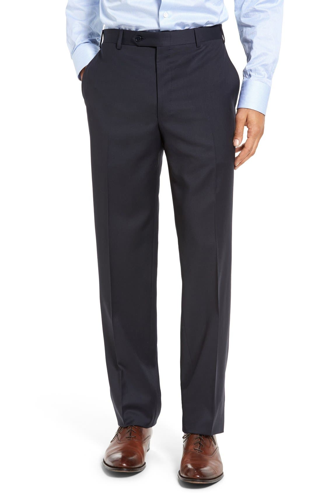 CANALI, Classic Fit Solid Wool Suit, Alternate thumbnail 7, color, NAVY