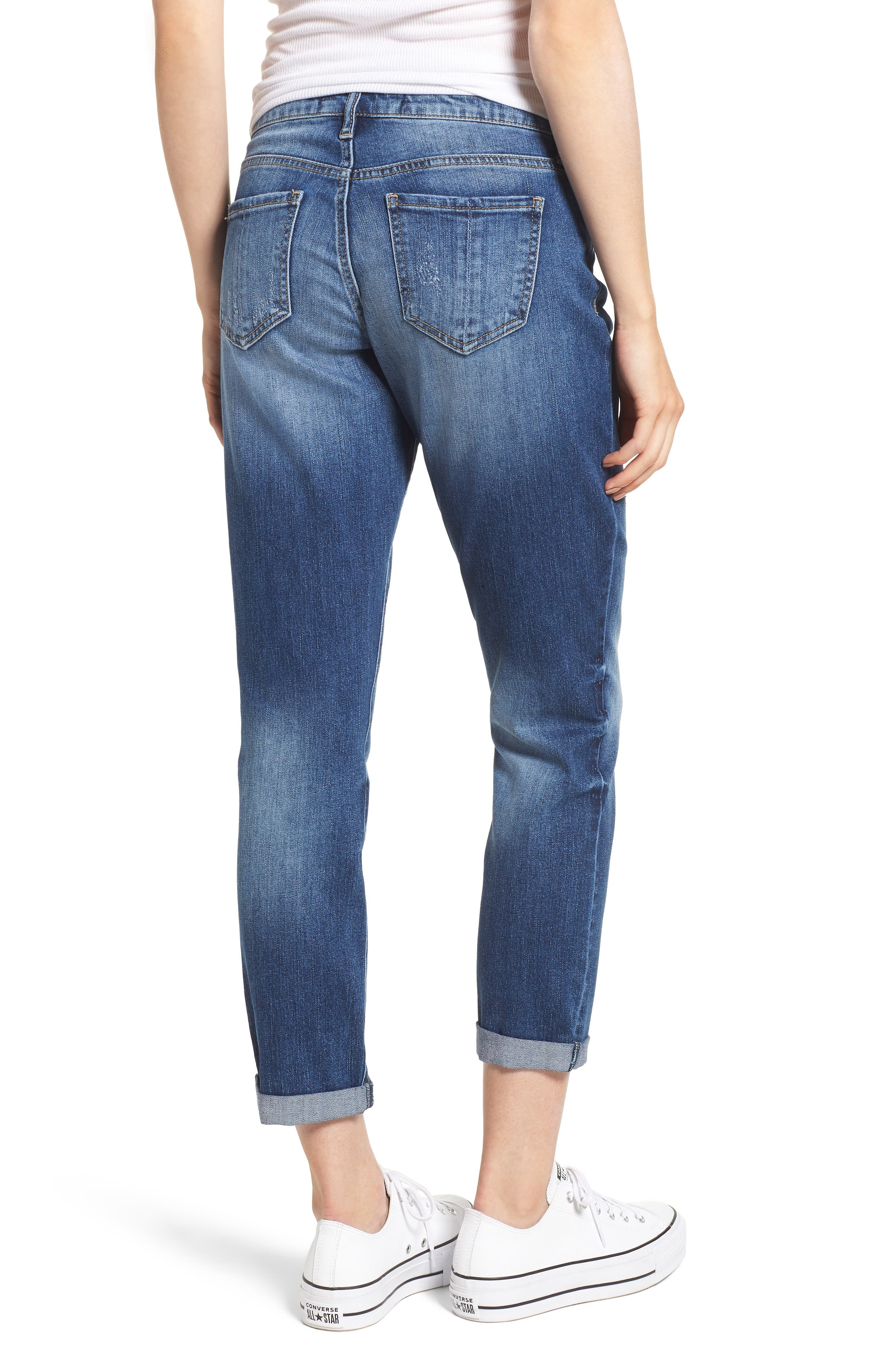 PROSPERITY DENIM, Ripped Girlfriend Jeans, Alternate thumbnail 2, color, BLUE