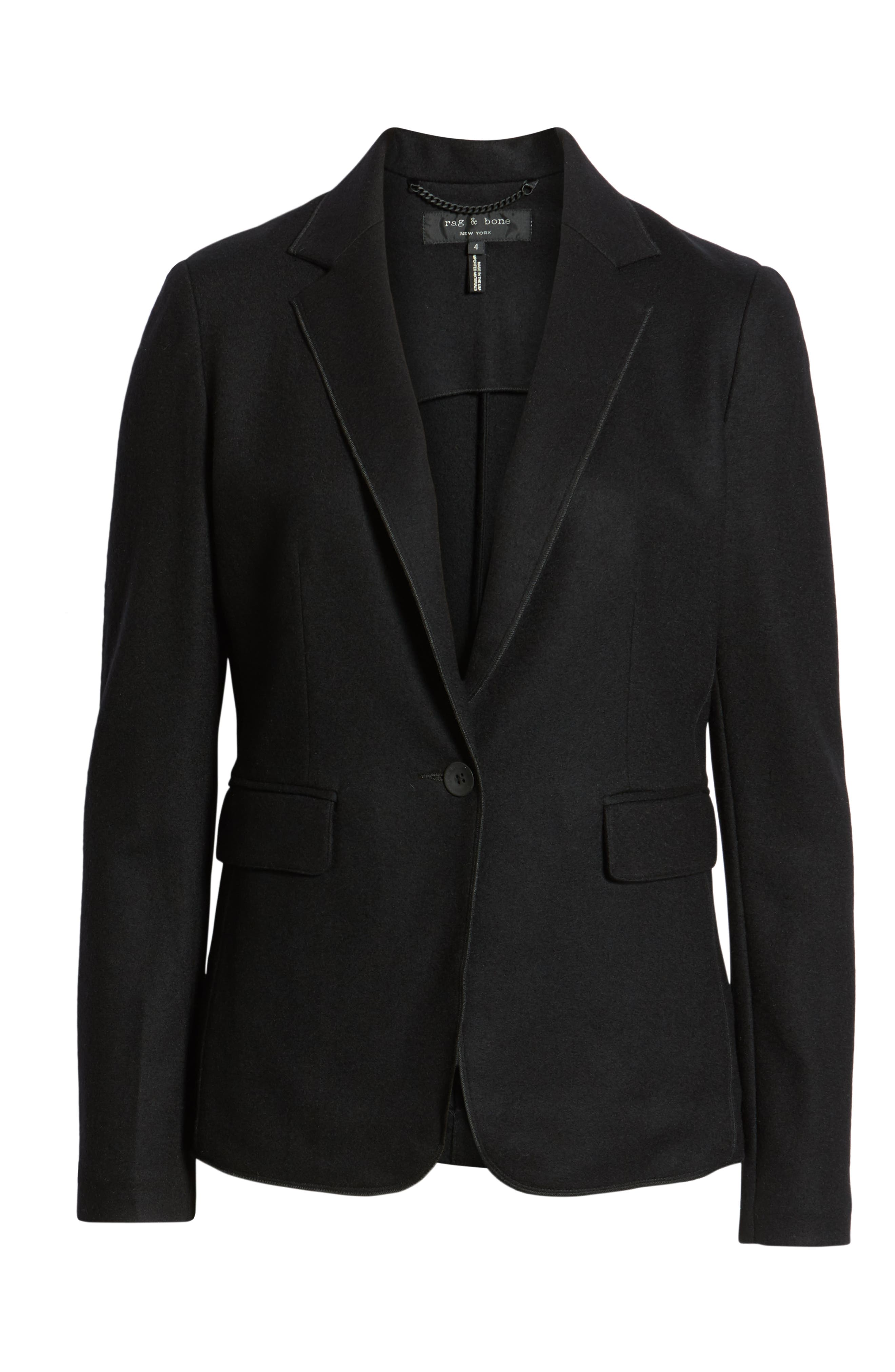 RAG & BONE, Club Wool Blazer, Alternate thumbnail 2, color, BLACK