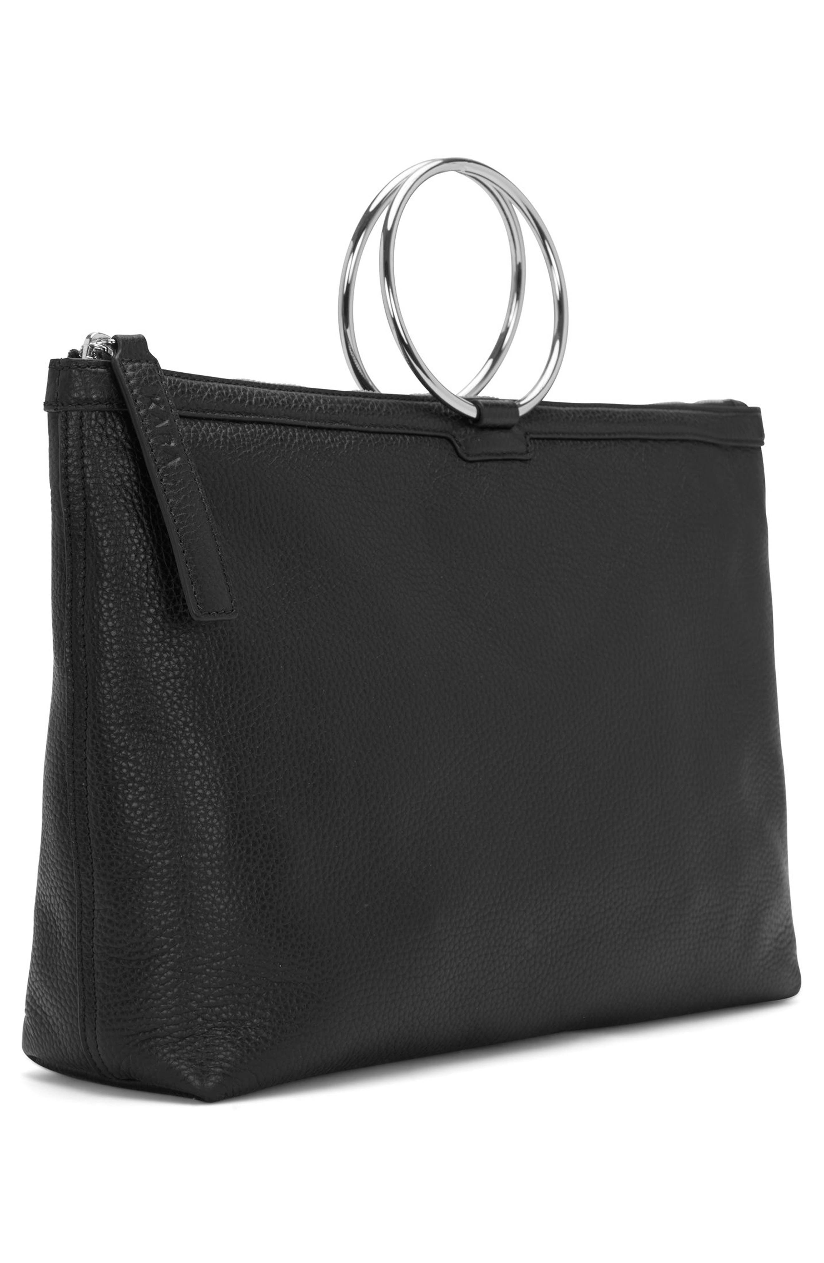 KARA, Large Pebbled Leather Ring Clutch, Alternate thumbnail 9, color, 001