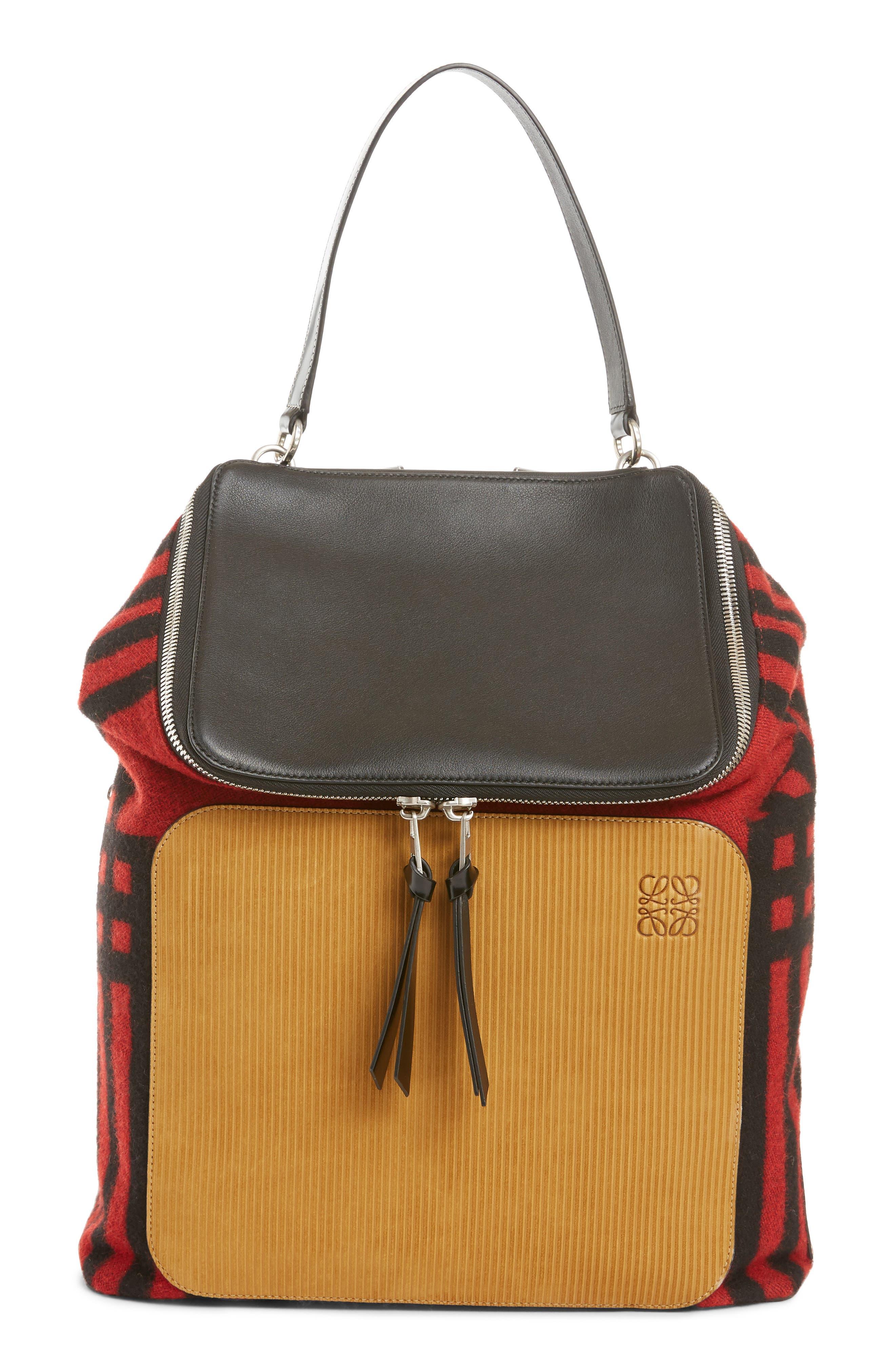 LOEWE, Goya Grid Backpack, Main thumbnail 1, color, SCARLET RED/BLACK