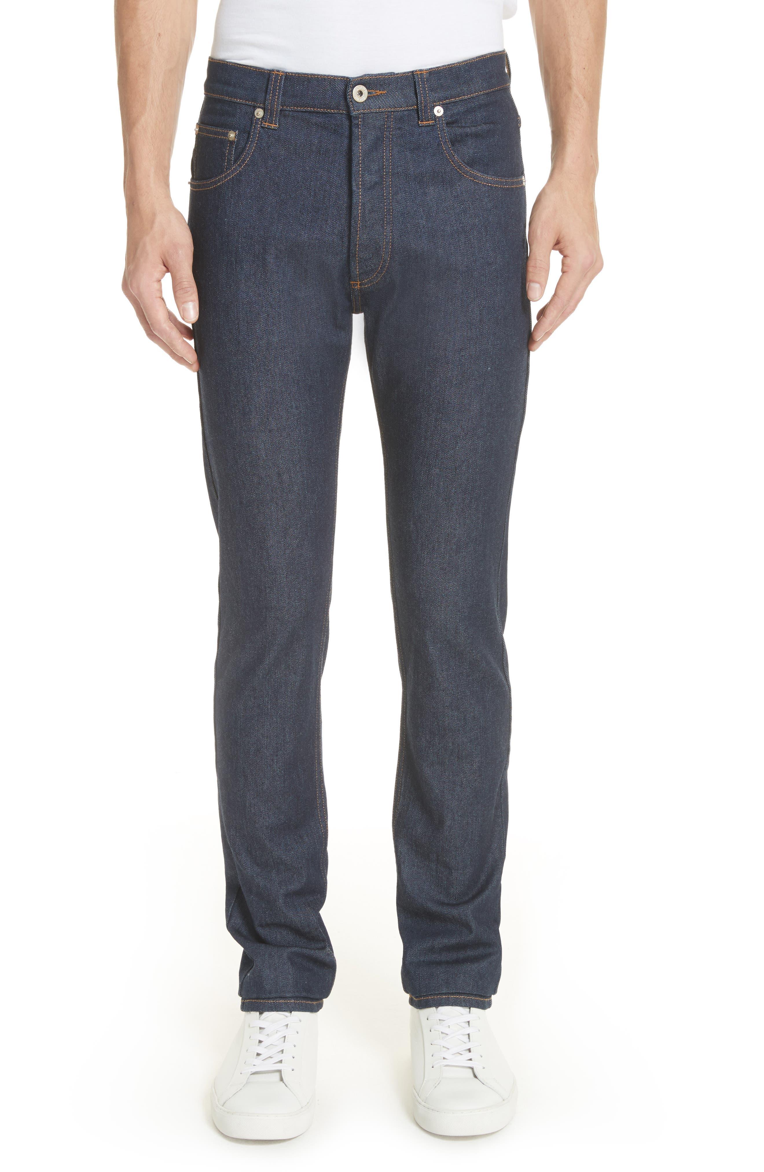 LOEWE, Skinny Fit Jeans, Main thumbnail 1, color, BLUE DENIM