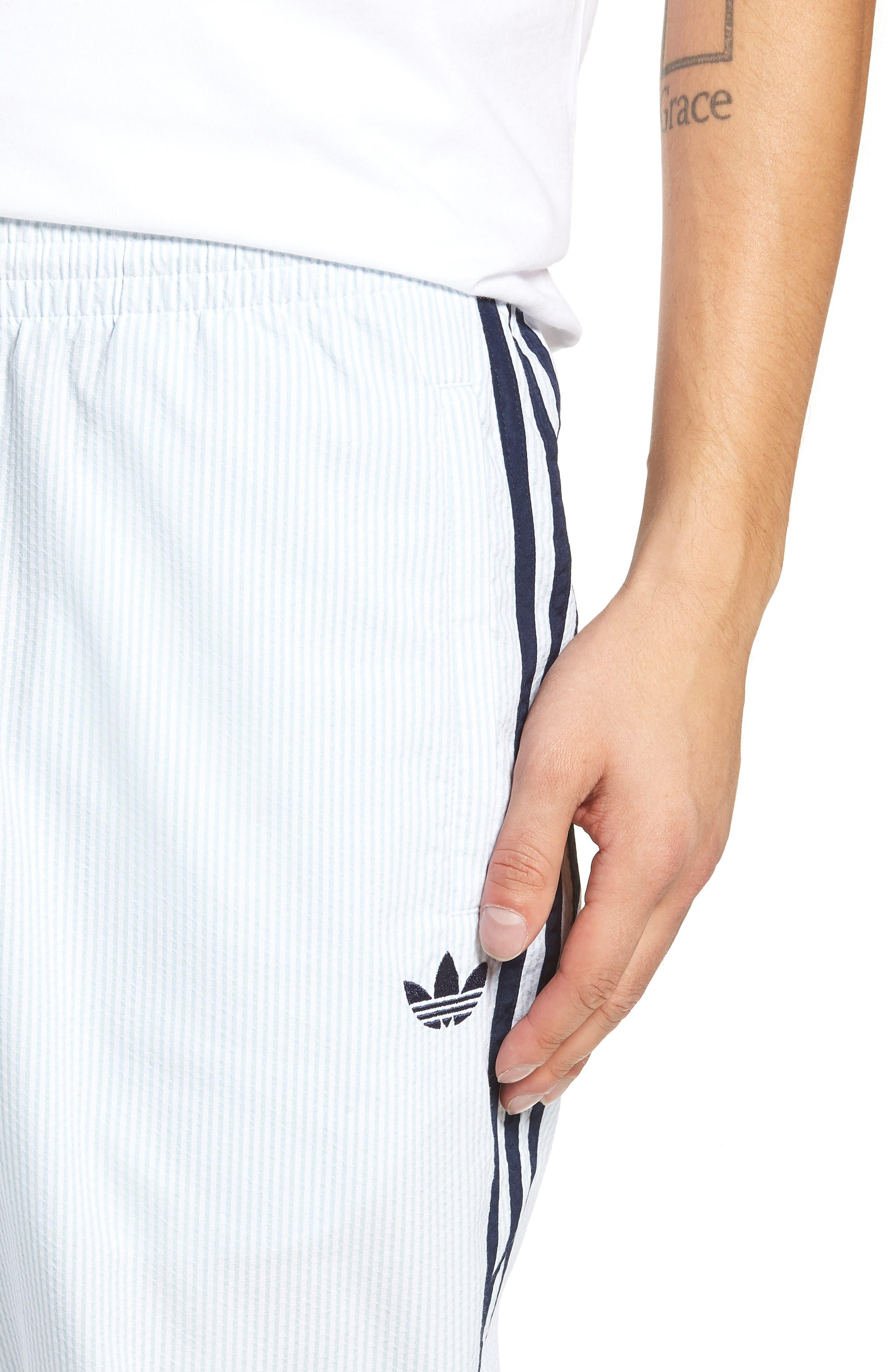 ADIDAS ORIGINALS, Seersucker Track Pants, Alternate thumbnail 5, color, ASH GREY/ WHITE