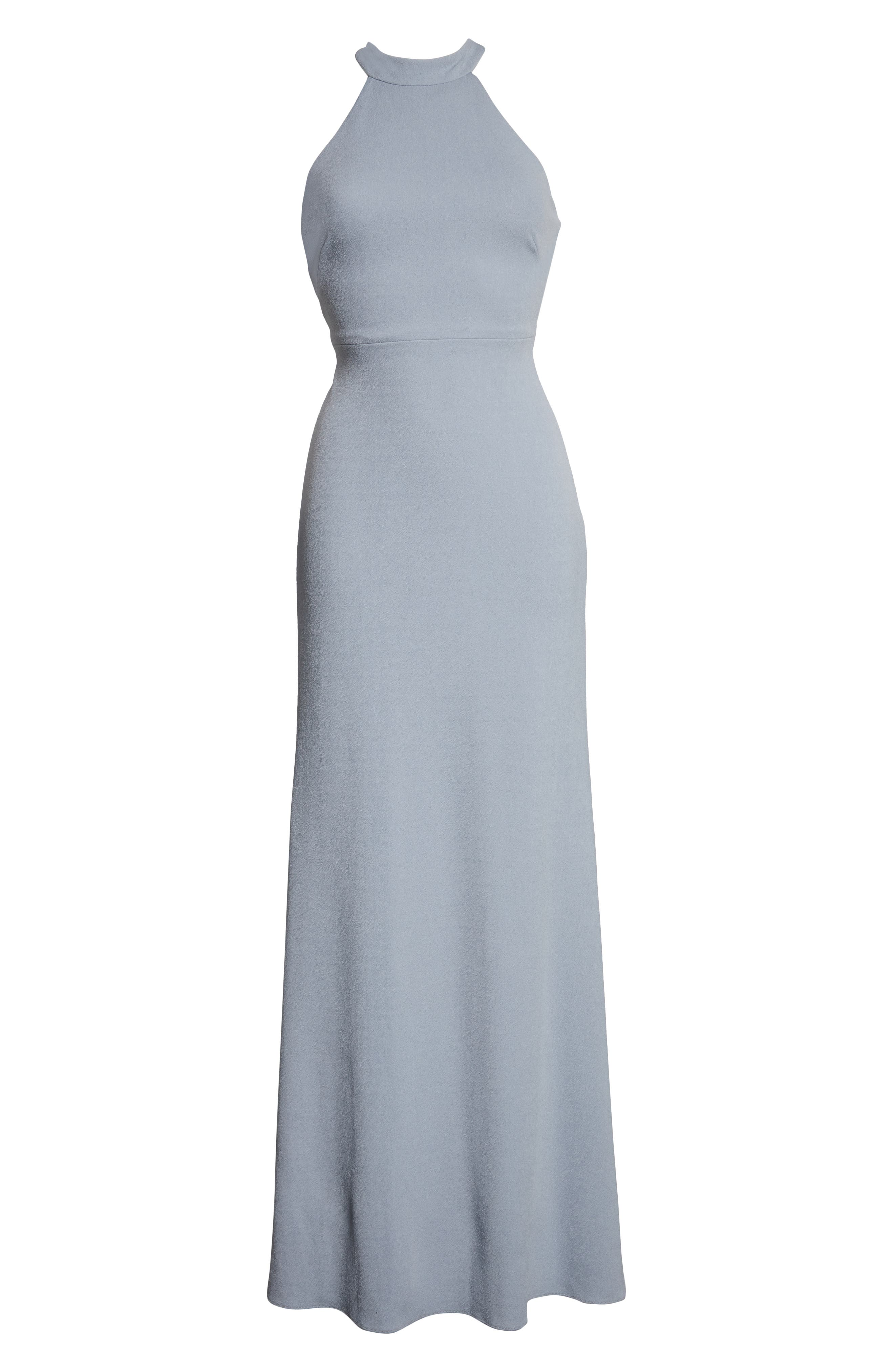 AFTER SIX, Halter Neck Stretch Crepe Evening Dress, Alternate thumbnail 8, color, PLATINUM