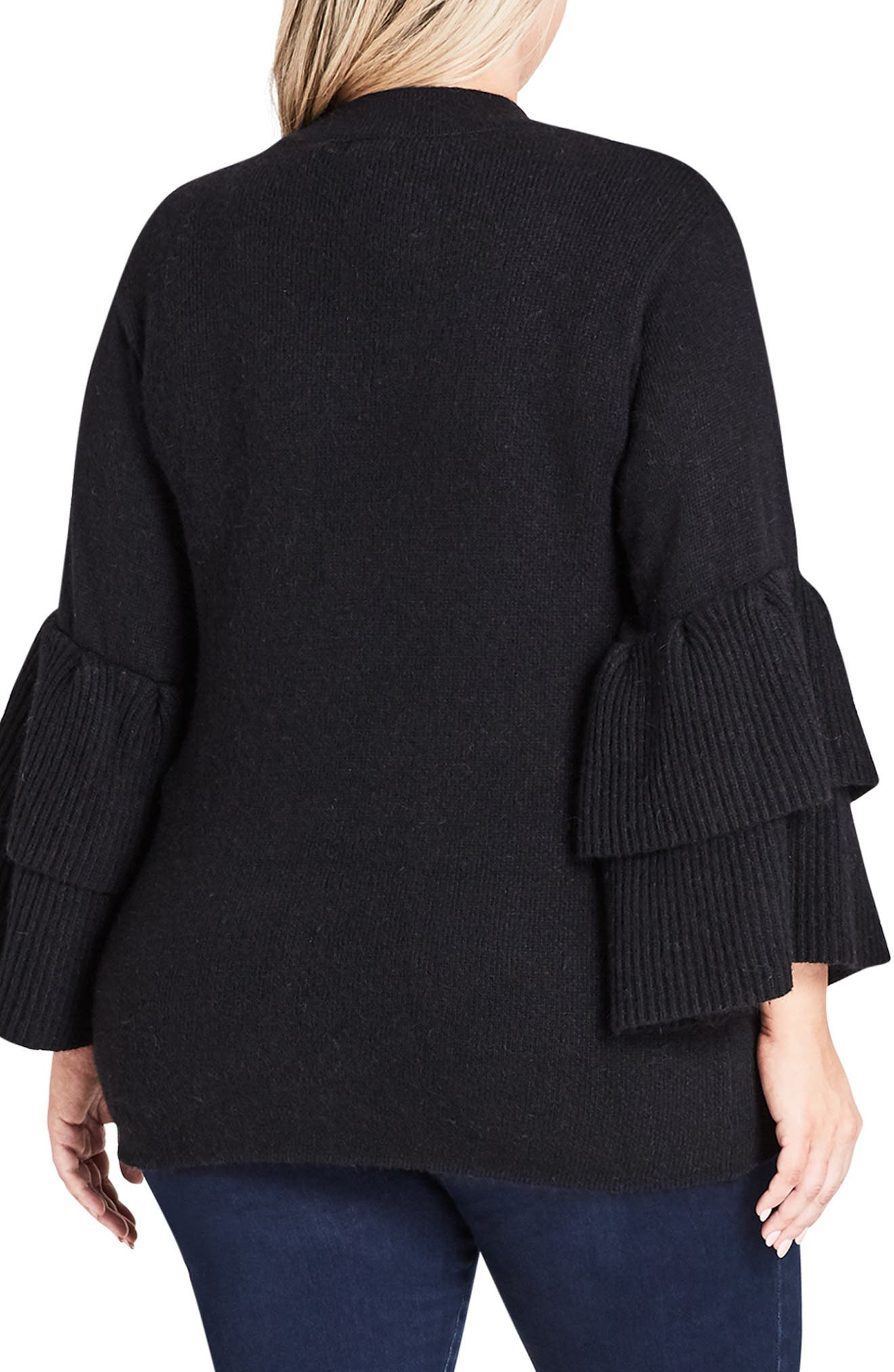 CITY CHIC, Tiered Sleeve Sweater, Alternate thumbnail 2, color, BLACK