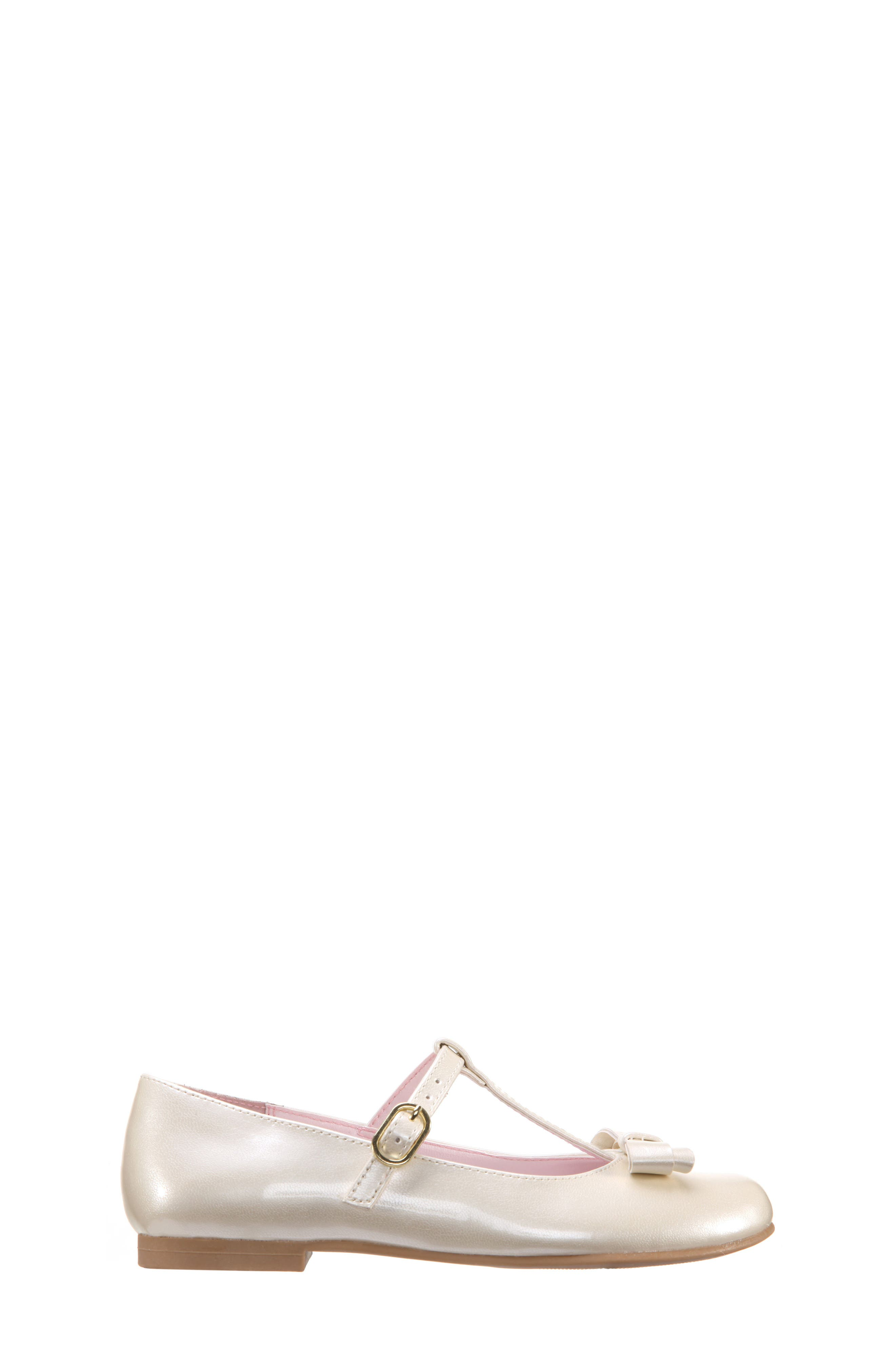 NINA, Merrilyn T-Strap Bow Flat, Alternate thumbnail 3, color, IVORY PATENT