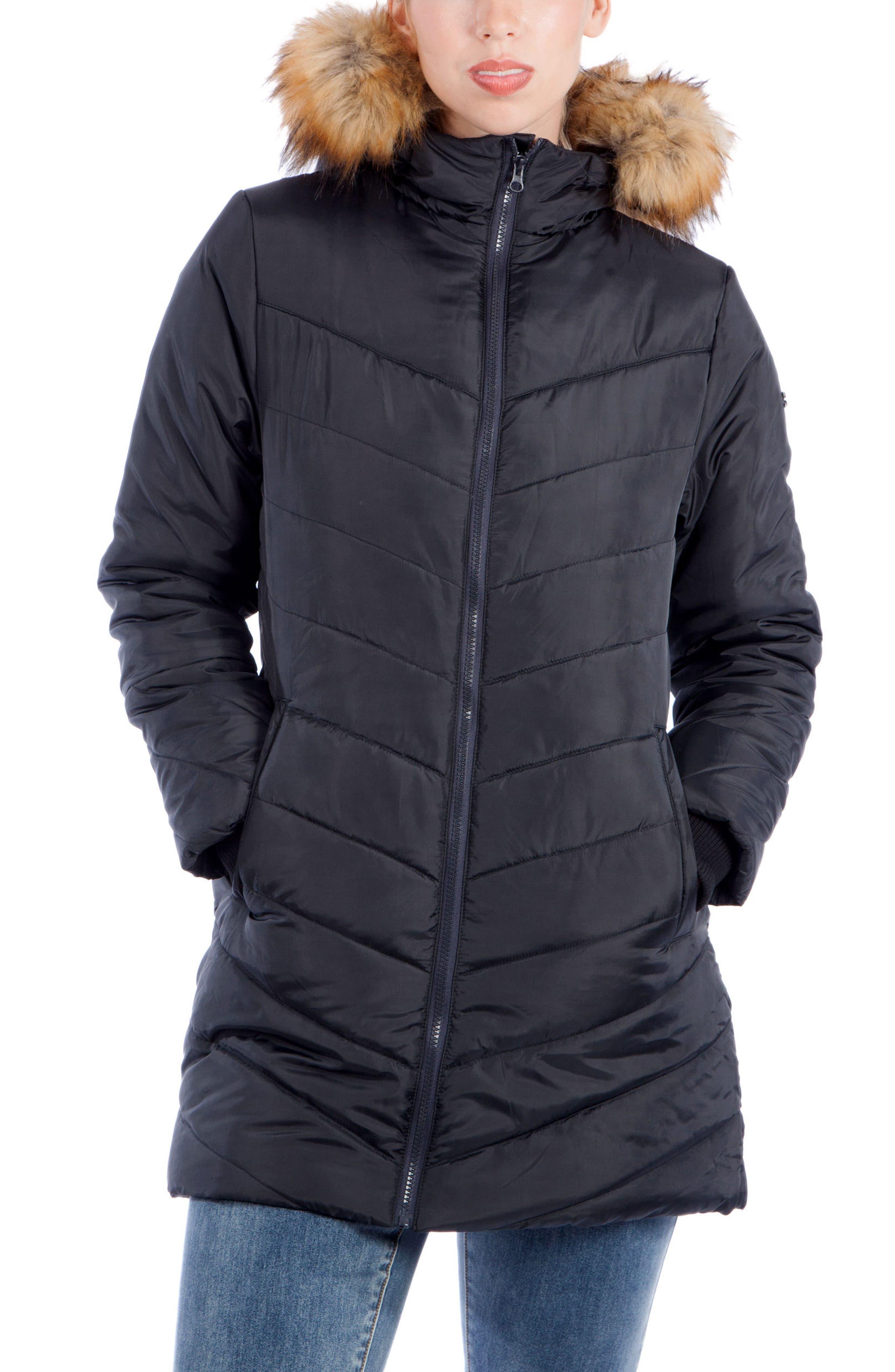 MODERN ETERNITY, Faux Fur Trim Convertible Puffer 3-in-1 Maternity Jacket, Main thumbnail 1, color, BLACK