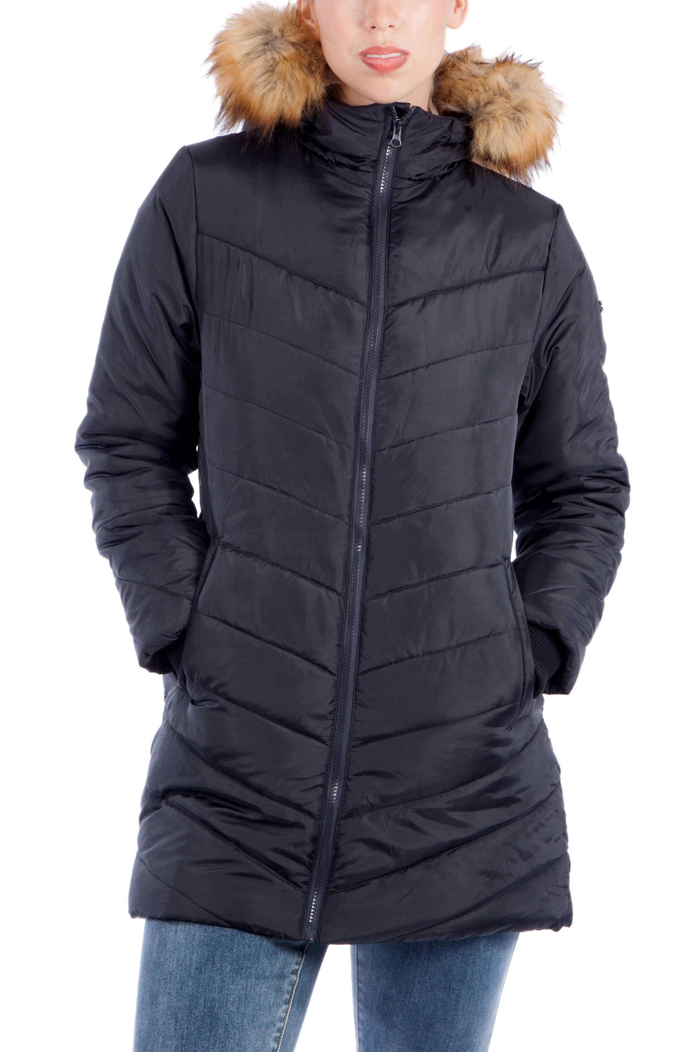 MODERN ETERNITY Faux Fur Trim Convertible Puffer 3-in-1 Maternity Jacket, Main, color, BLACK