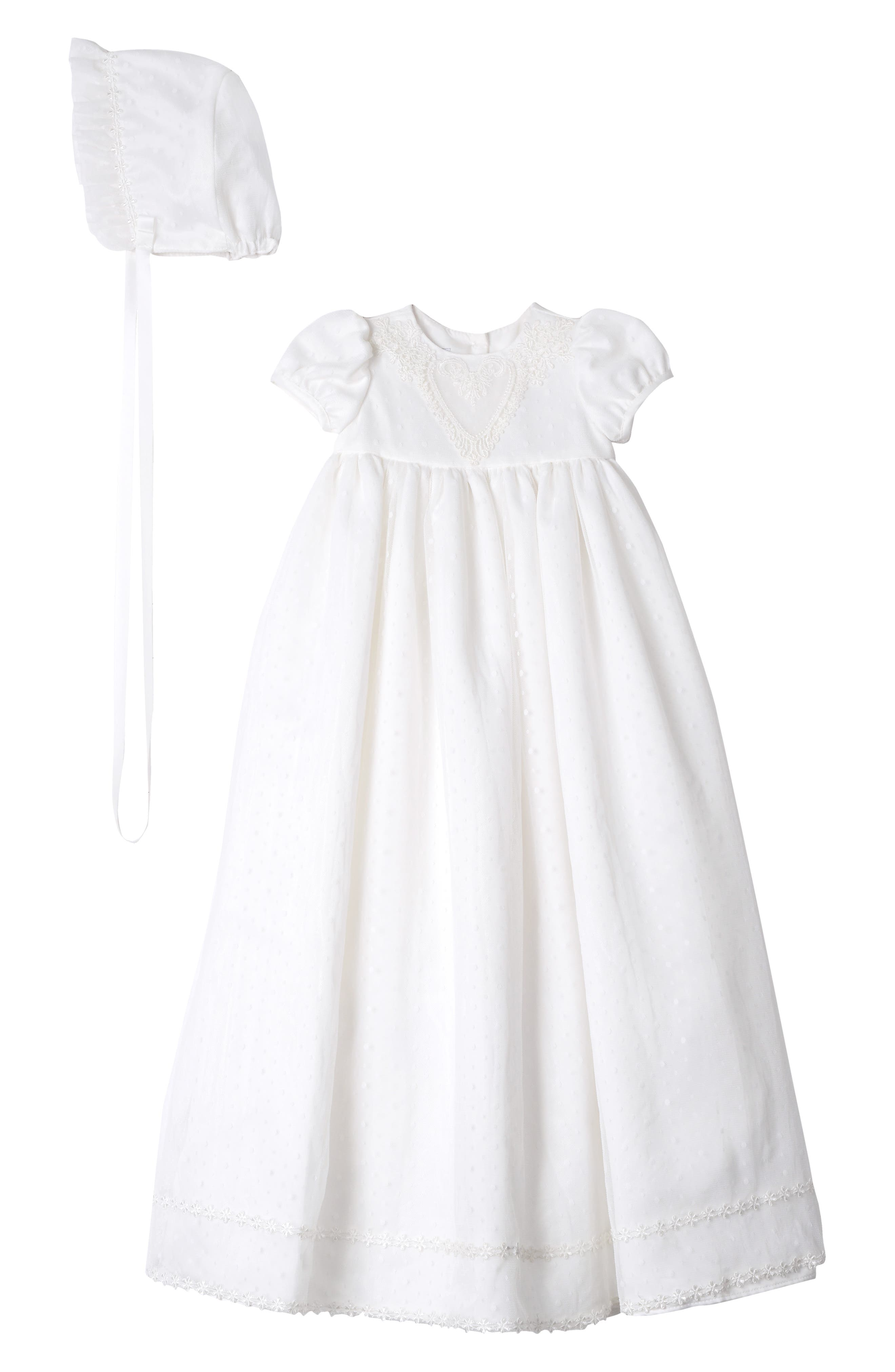 PIPPA & JULIE, Point Desprit Embroidered Heart Christening Gown & Bonnet, Main thumbnail 1, color, WHITE