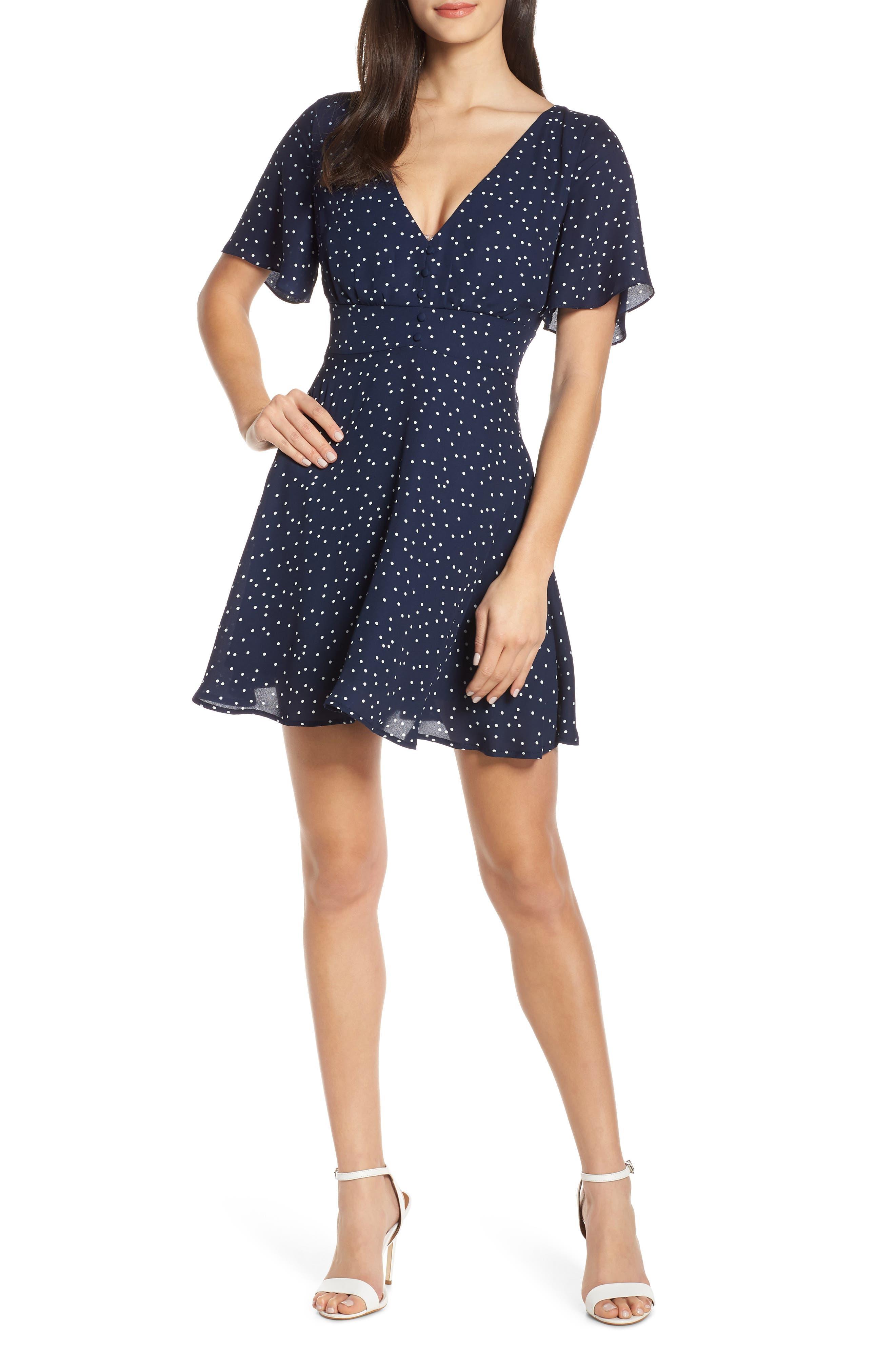 BB DAKOTA, La La Land Dot Flutter Dress, Main thumbnail 1, color, OIL SLICK