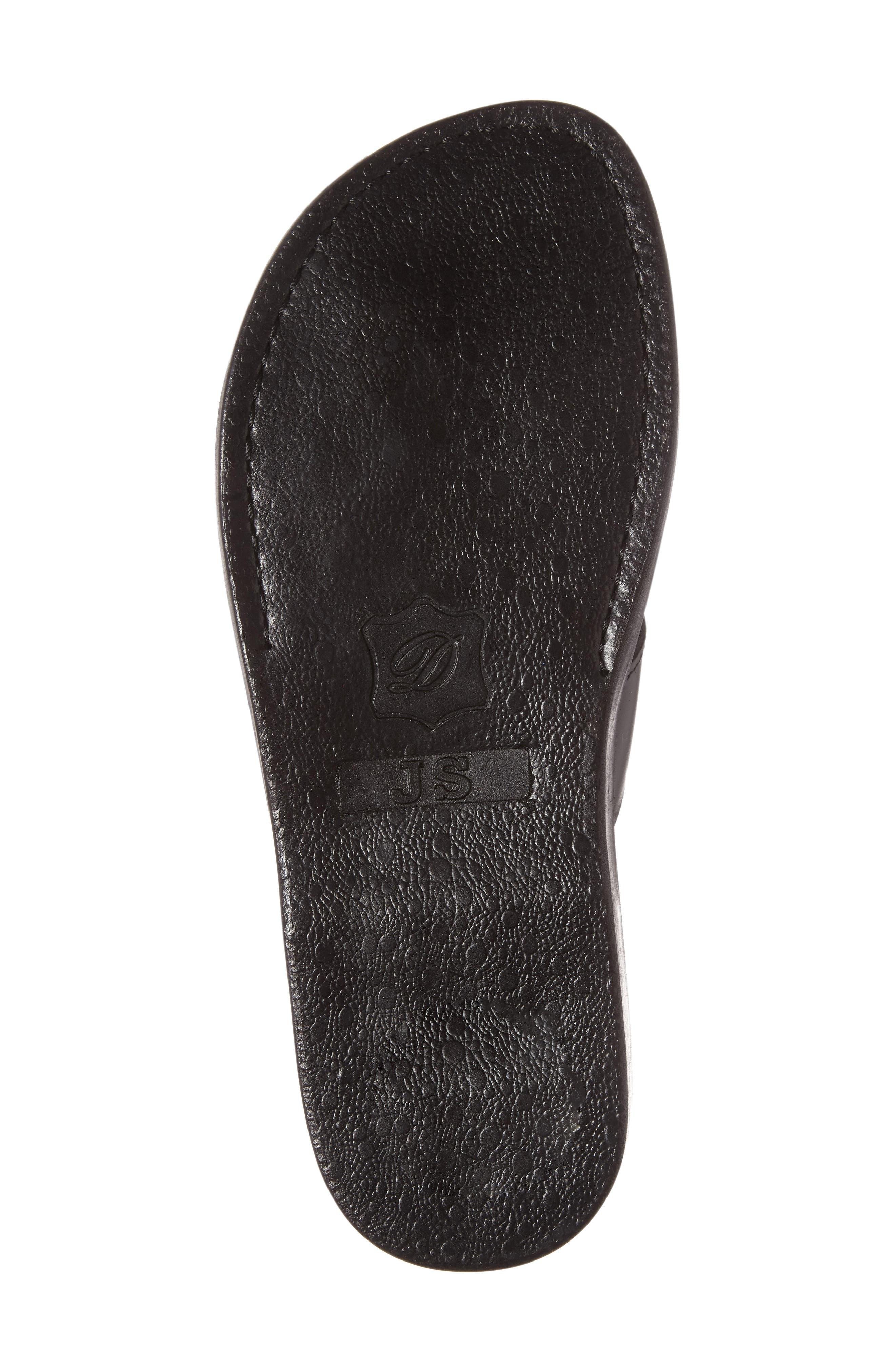 JERUSALEM SANDALS, Asher Slide Sandal, Alternate thumbnail 4, color, BLACK LEATHER