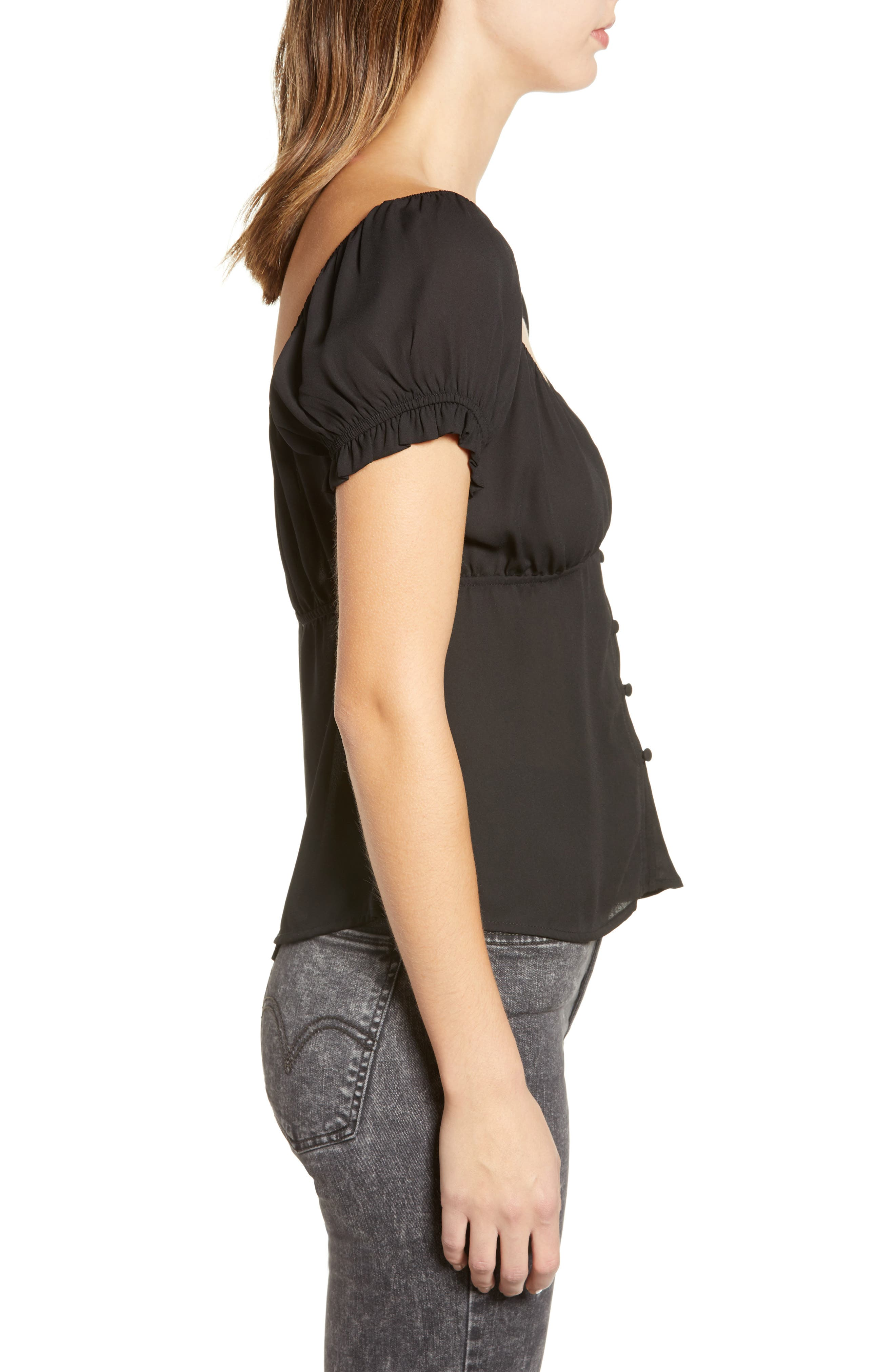 ROW A, Cap Sleeve Top, Alternate thumbnail 3, color, BLACK SOLID