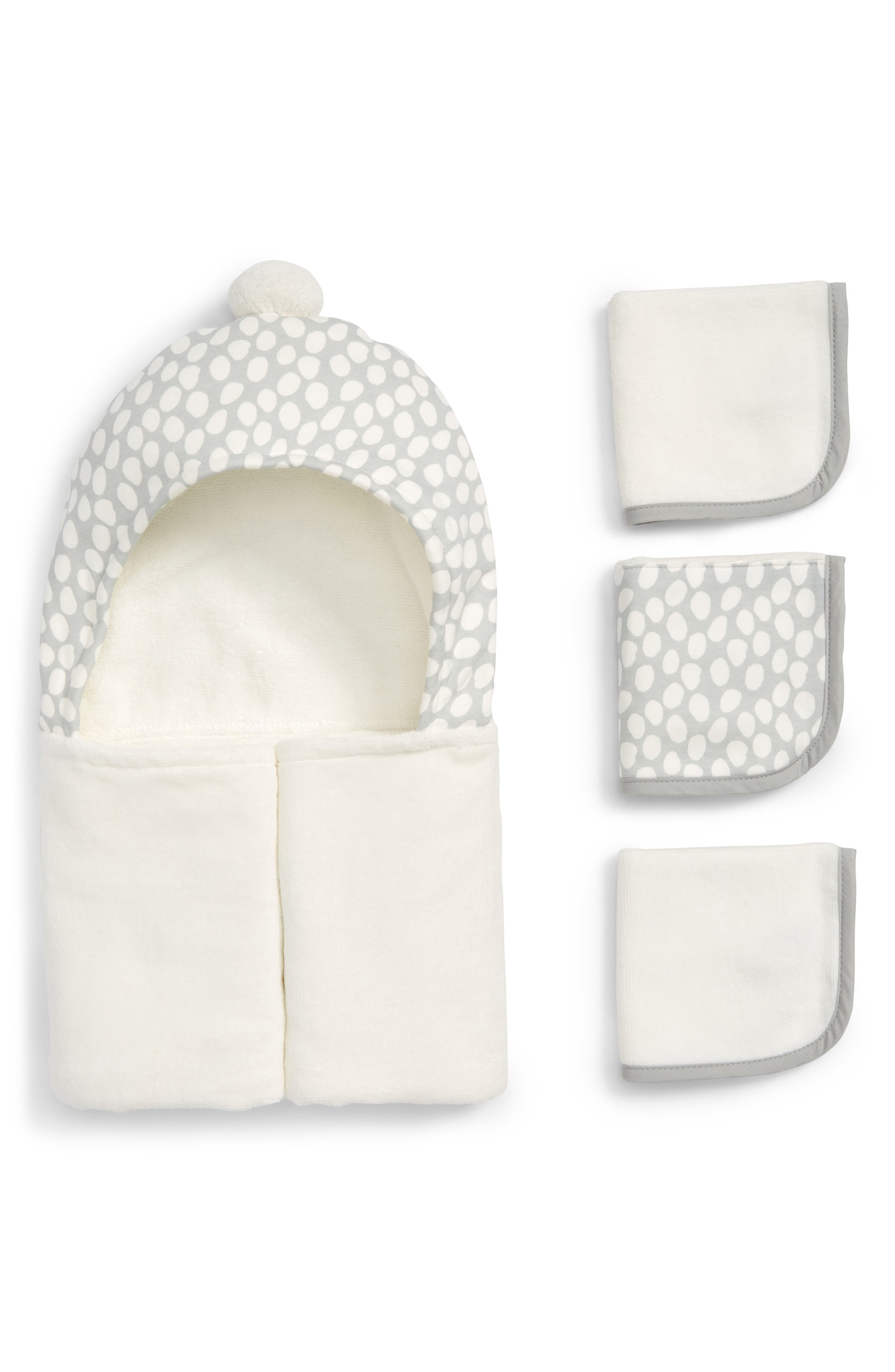 ELEGANT BABY, Grey Dots Hooded Towel & Washcloths Set, Main thumbnail 1, color, WHITE/ GREY