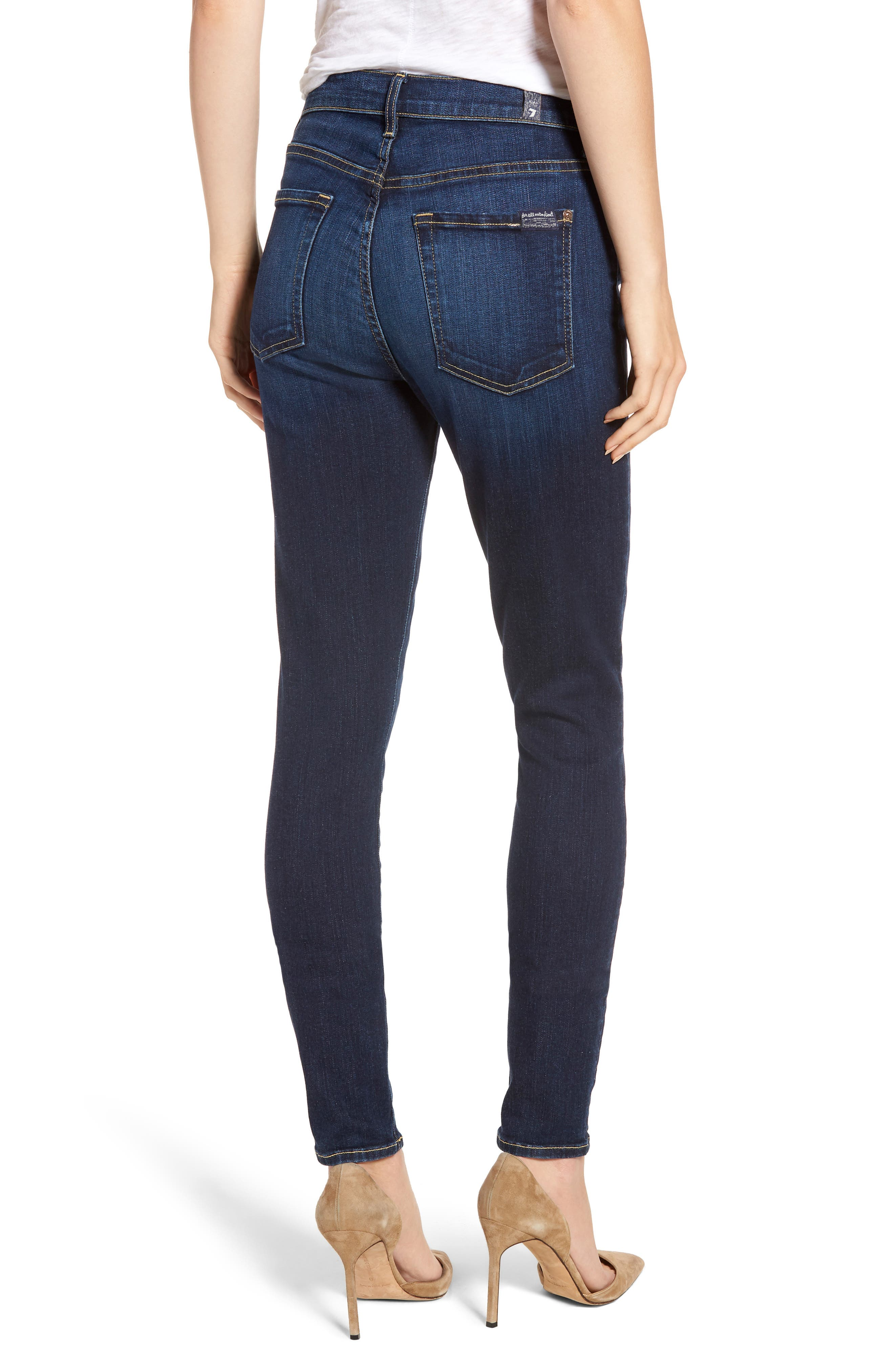 7 FOR ALL MANKIND<SUP>®</SUP>, The High Waist Skinny Jeans, Alternate thumbnail 2, color, AUTHENTIC FATE