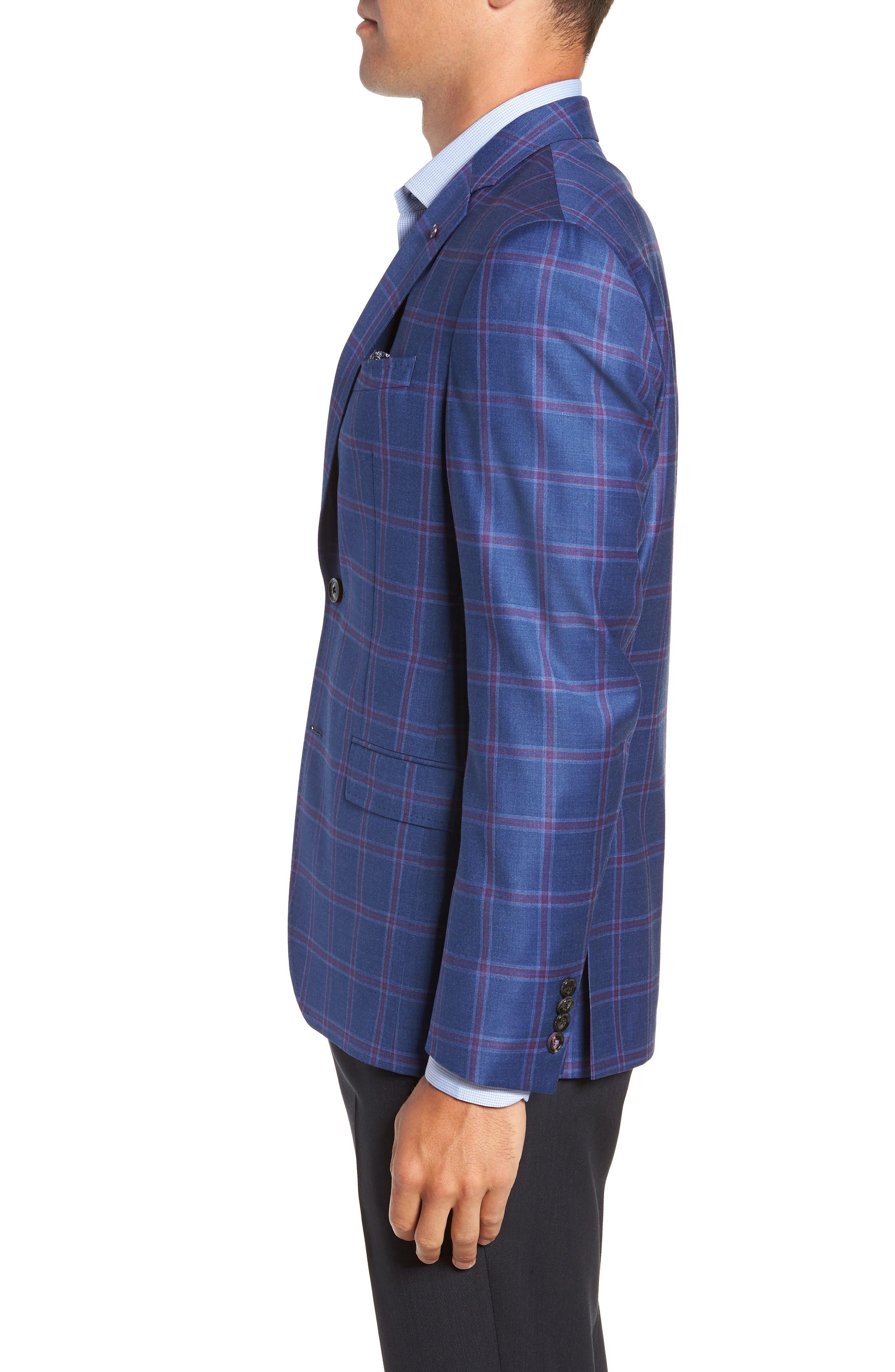TED BAKER LONDON, Konan Trim Fit Wool Sport Coat, Alternate thumbnail 3, color, BLUE
