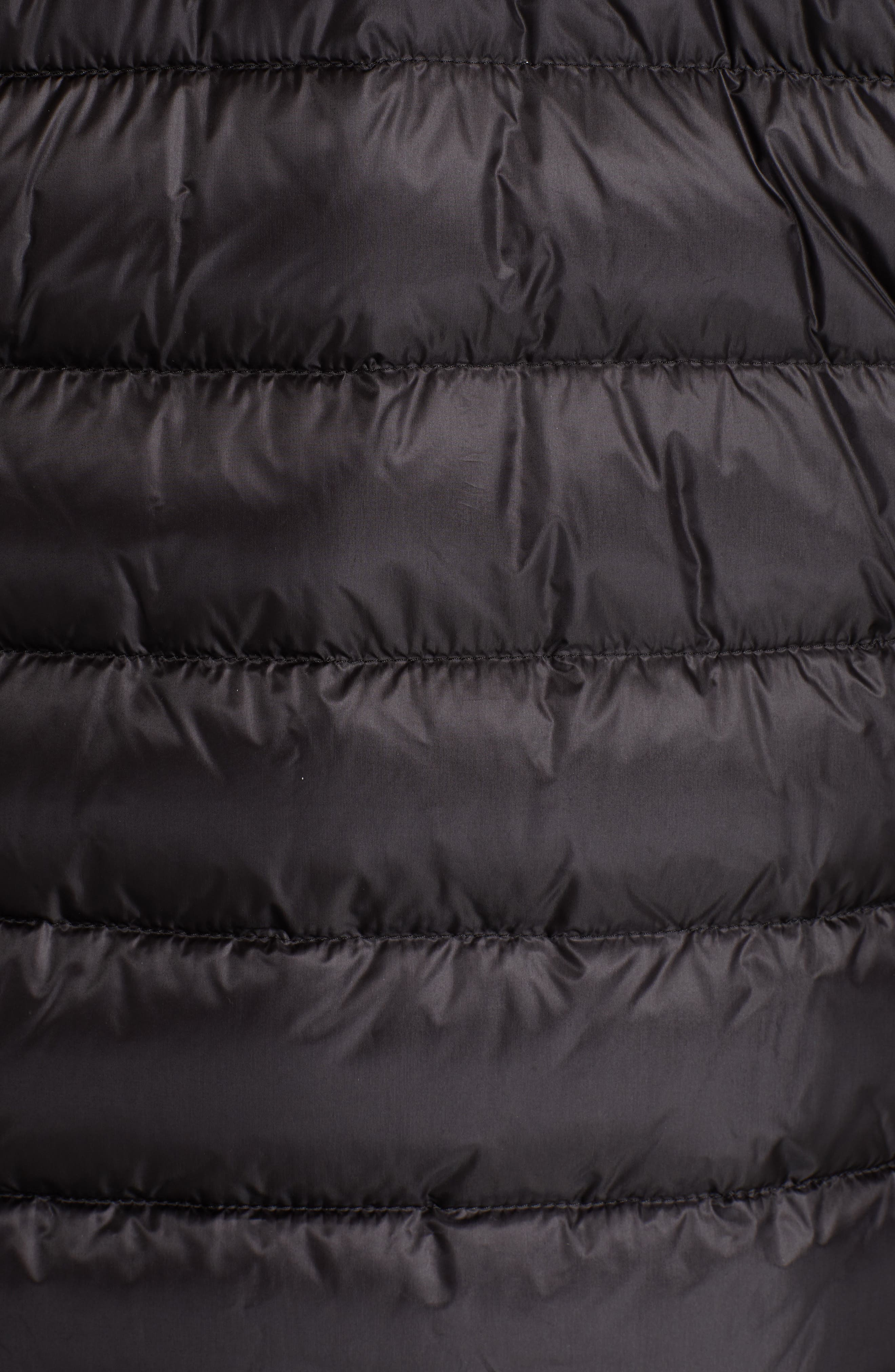 MONCLER, Vasserot Genuine Shearling Collar Jacket, Alternate thumbnail 7, color, BLACK
