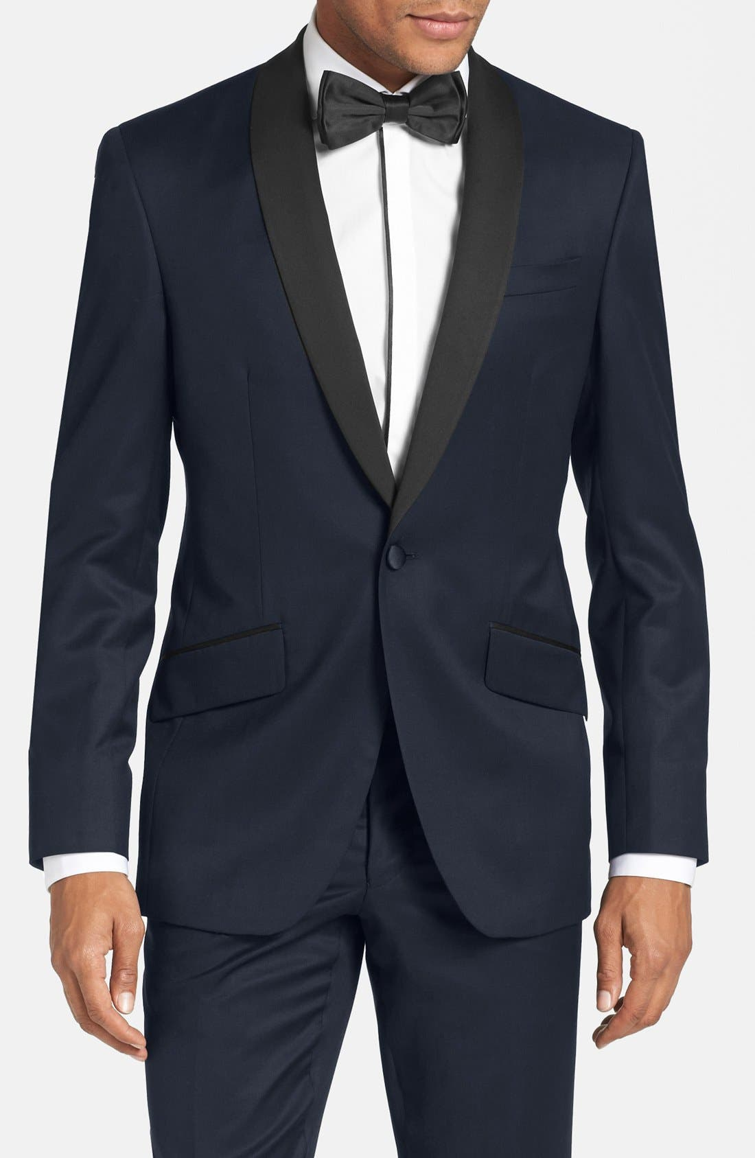 TED BAKER LONDON, Josh Trim Fit Navy Shawl Lapel Tuxedo, Alternate thumbnail 2, color, NAVY BLUE