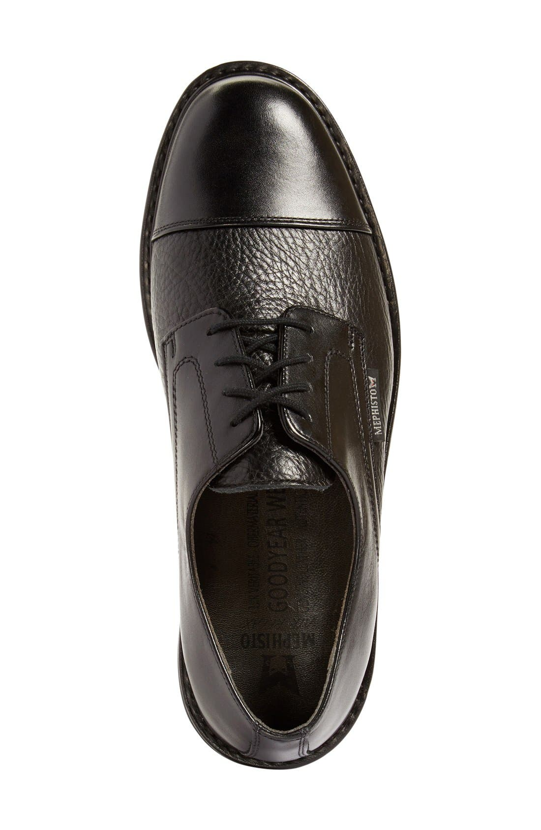 MEPHISTO, 'Melchior' Cap Toe Derby, Alternate thumbnail 2, color, BLACK LEATHER