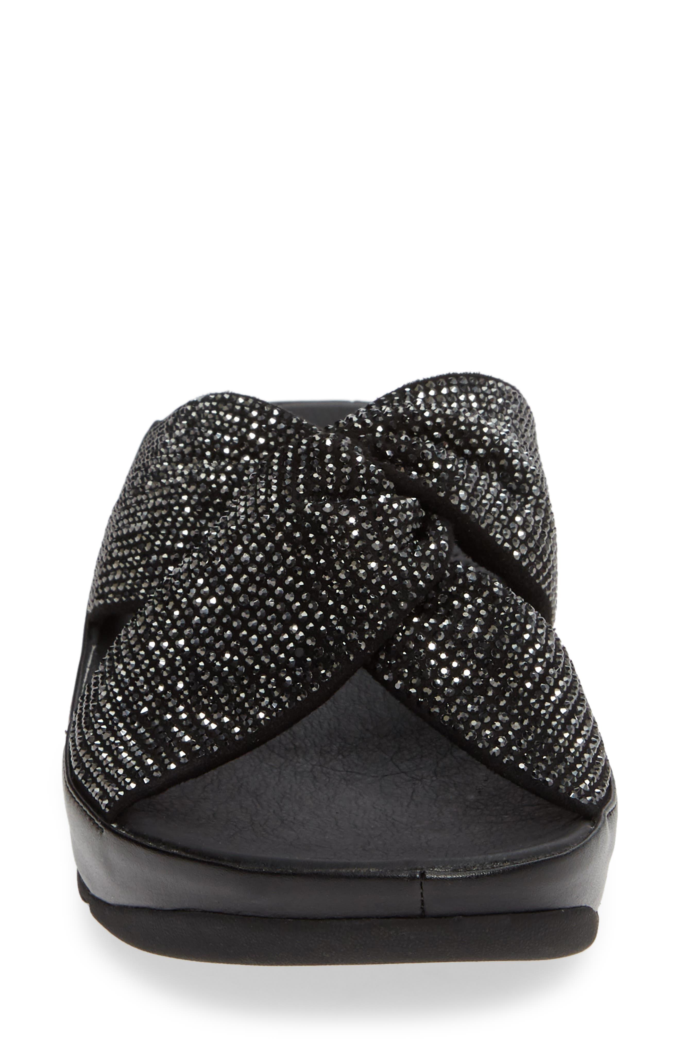 FITFLOP, Twiss Crystal Embellished Slide Sandal, Alternate thumbnail 4, color, BLACK FABRIC