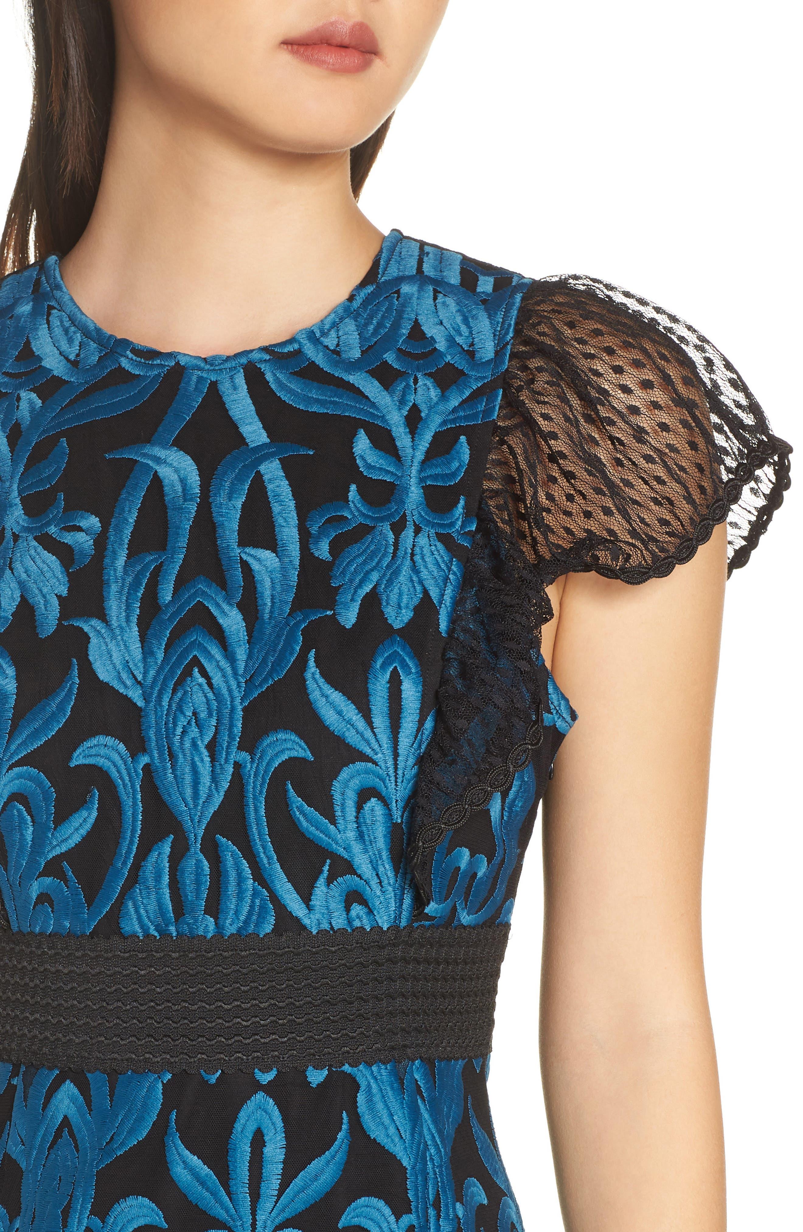 FOXIEDOX, Rosalynn Lace Midi Dress, Alternate thumbnail 5, color, 440