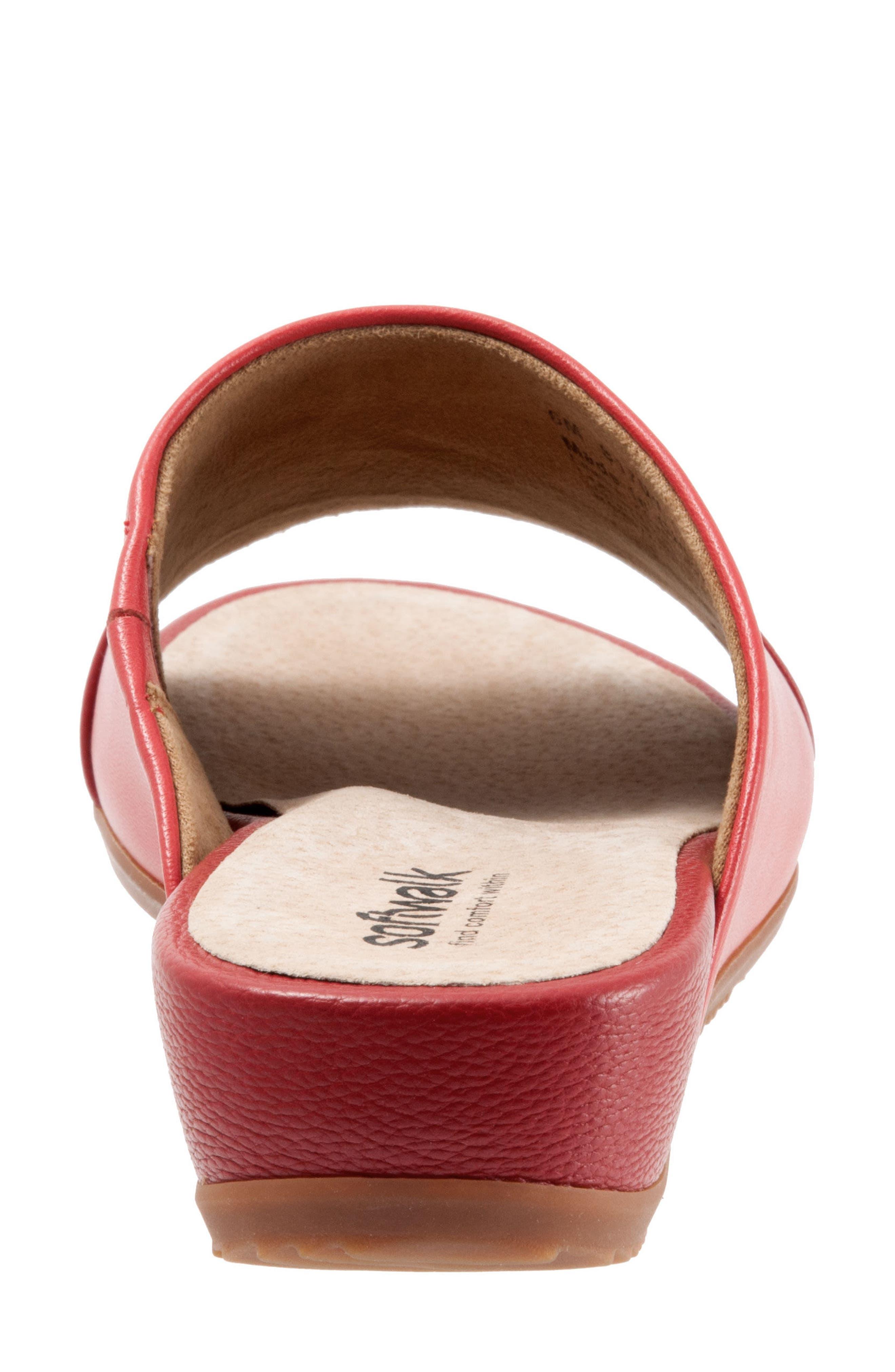 SOFTWALK<SUP>®</SUP>, Del Mar Slide Sandal, Alternate thumbnail 7, color, RED LEATHER