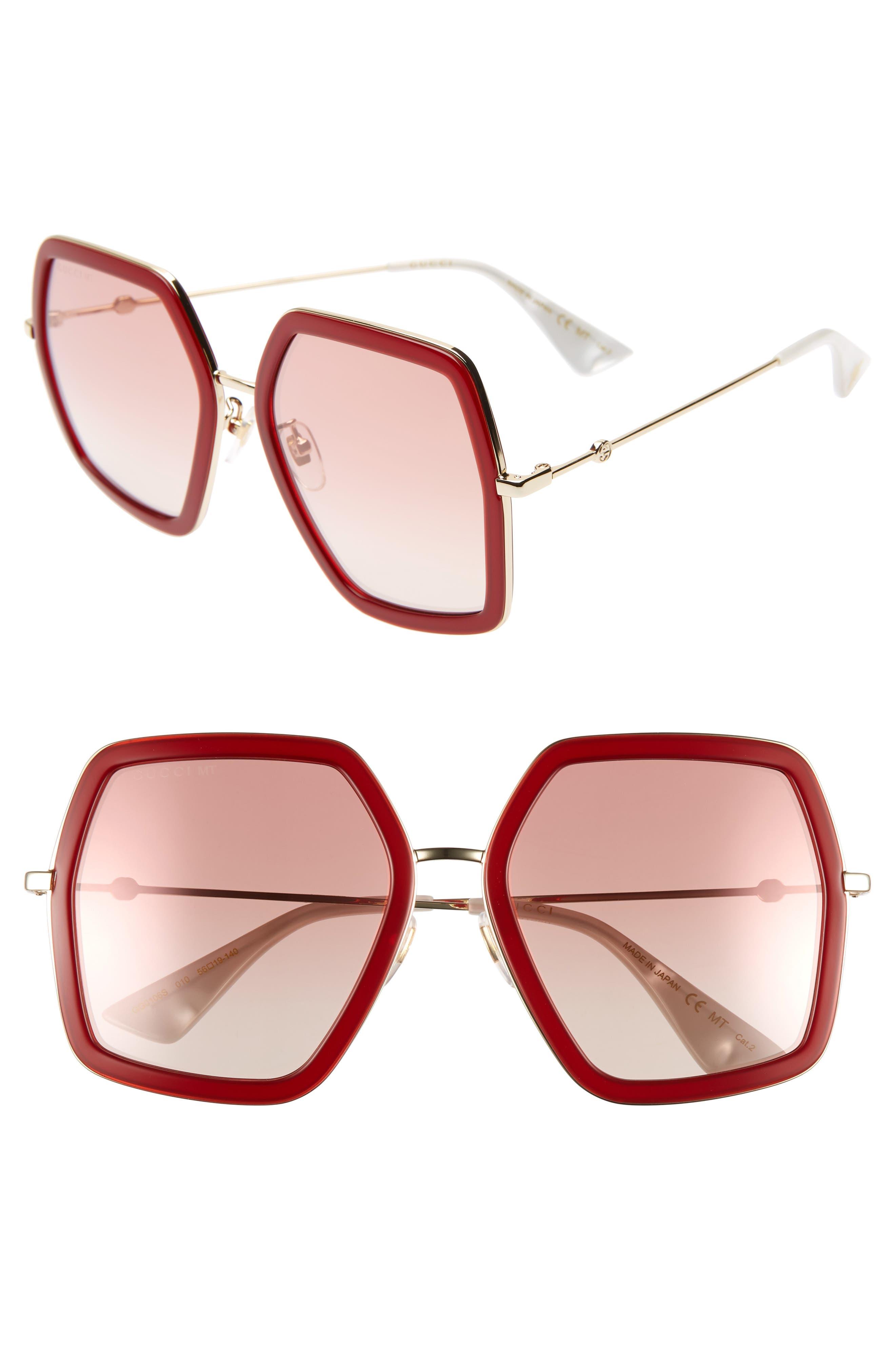 GUCCI, 56mm Sunglasses, Main thumbnail 1, color, SHINY ENDURA GLD/PK GRAD MIR