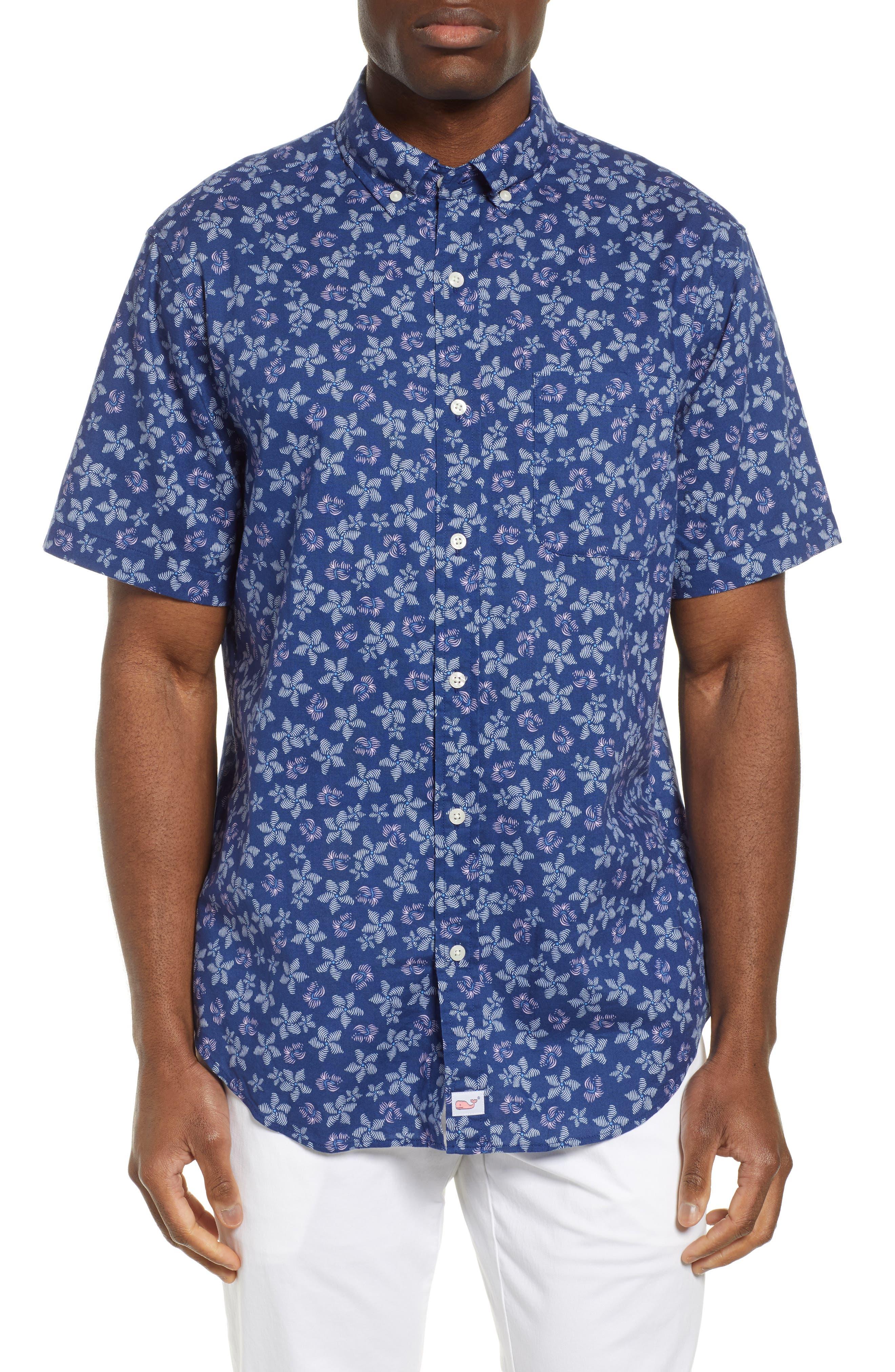 VINEYARD VINES, Murray Slim Fit Floral Print Sport Shirt, Main thumbnail 1, color, DEEP BAY