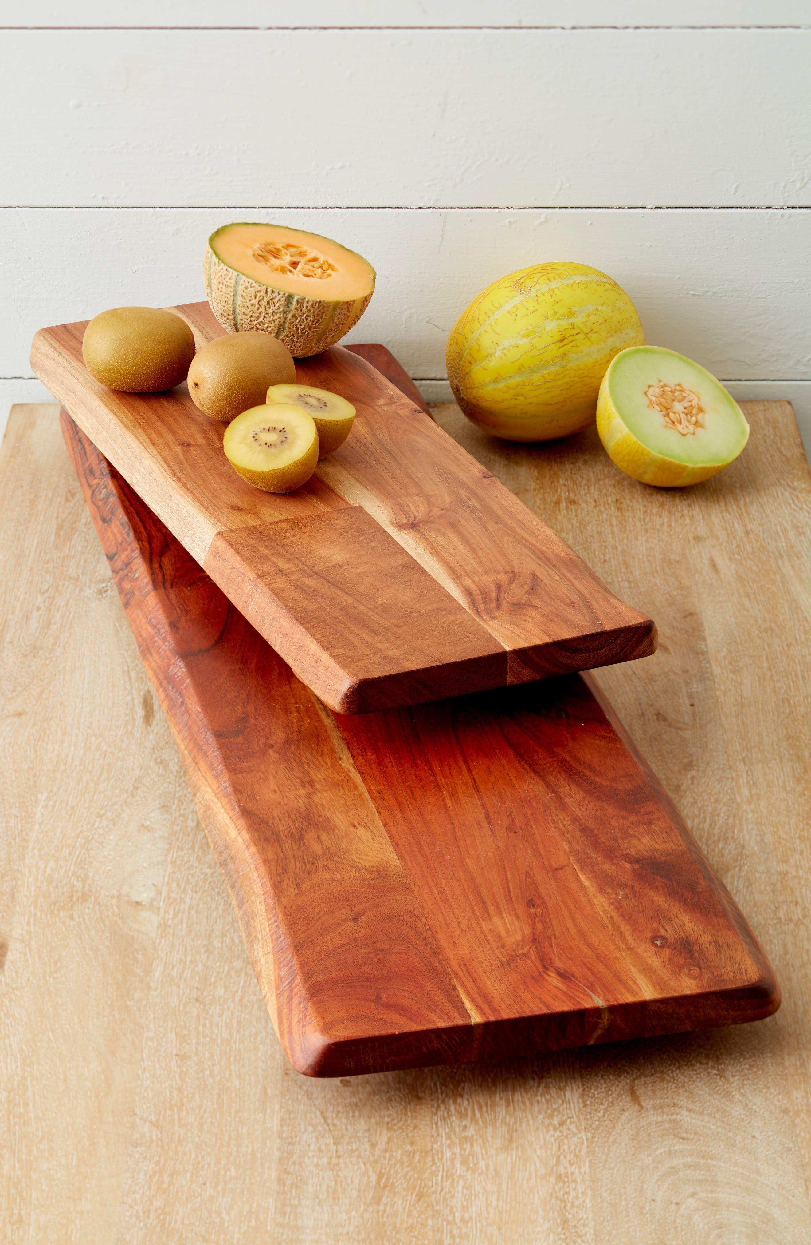 TREASURE & BOND, Large Acacia Wood Tray, Alternate thumbnail 2, color, BROWN