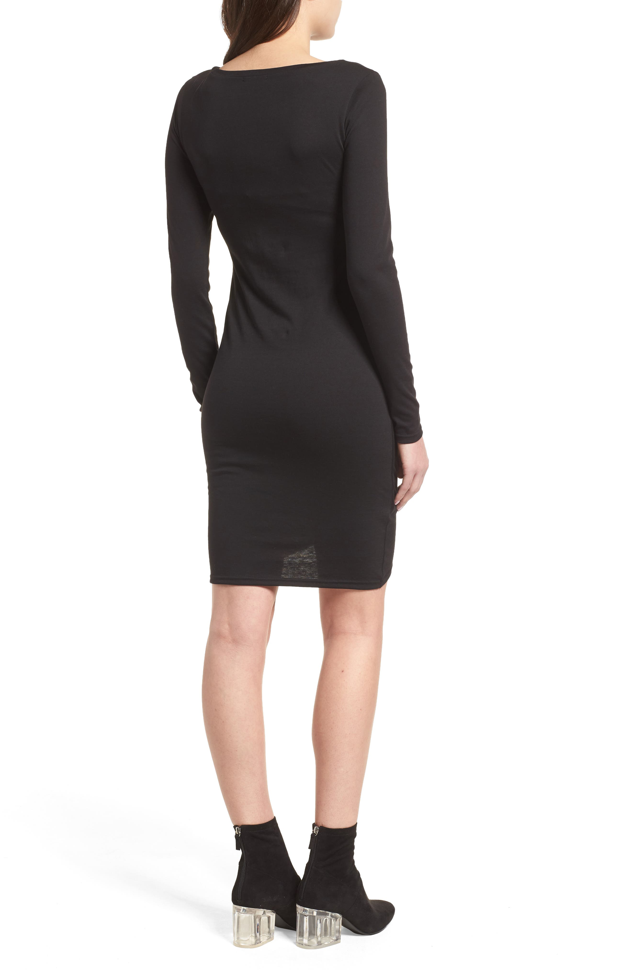 LEITH, Ruched Long Sleeve Dress, Alternate thumbnail 2, color, 001