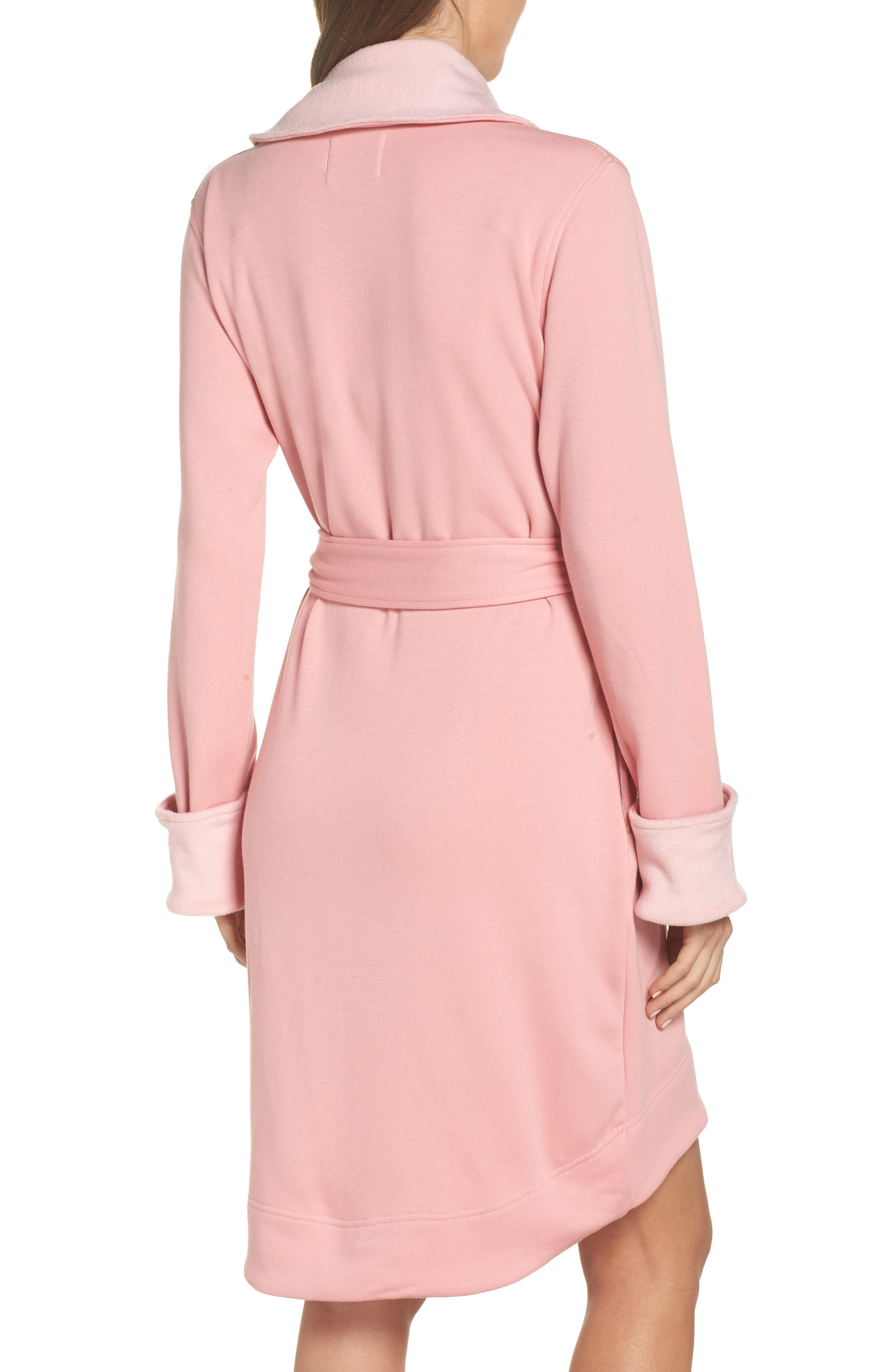 UGG<SUP>®</SUP>, Blanche II Short Robe, Alternate thumbnail 2, color, PINK DAWN