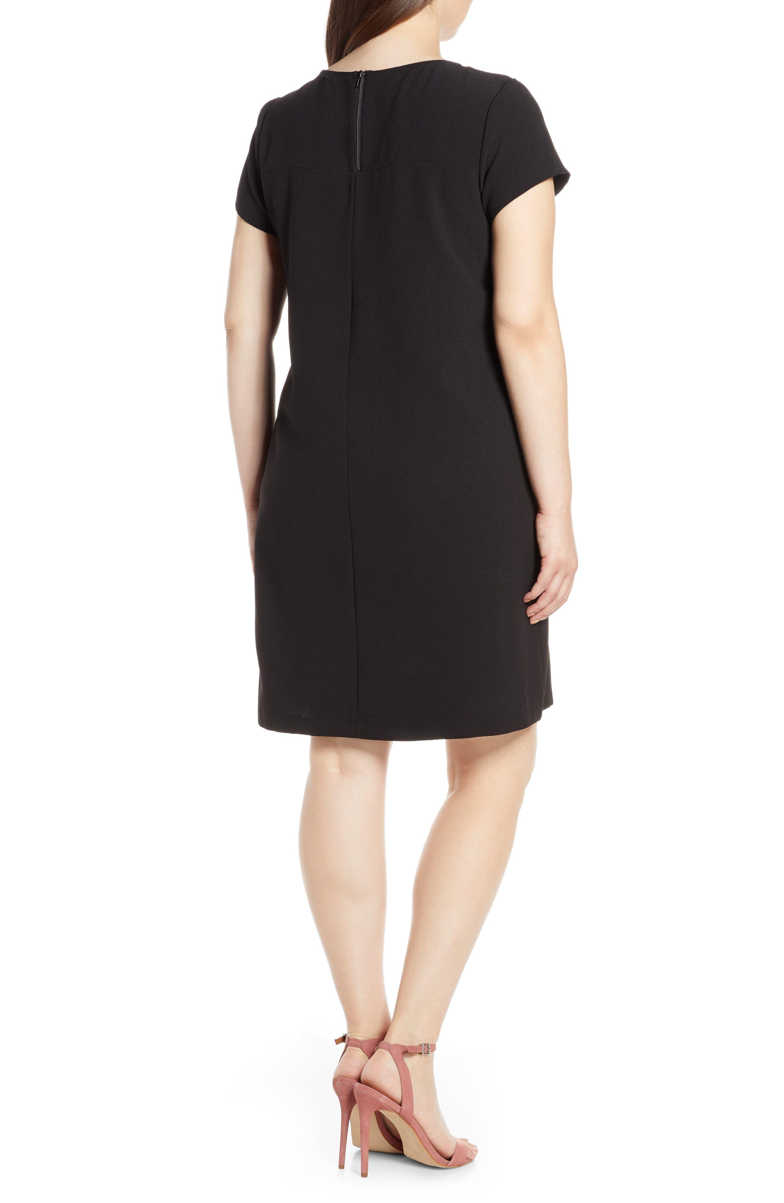 CHELSEA28, Crepe Shift Dress, Alternate thumbnail 9, color, BLACK