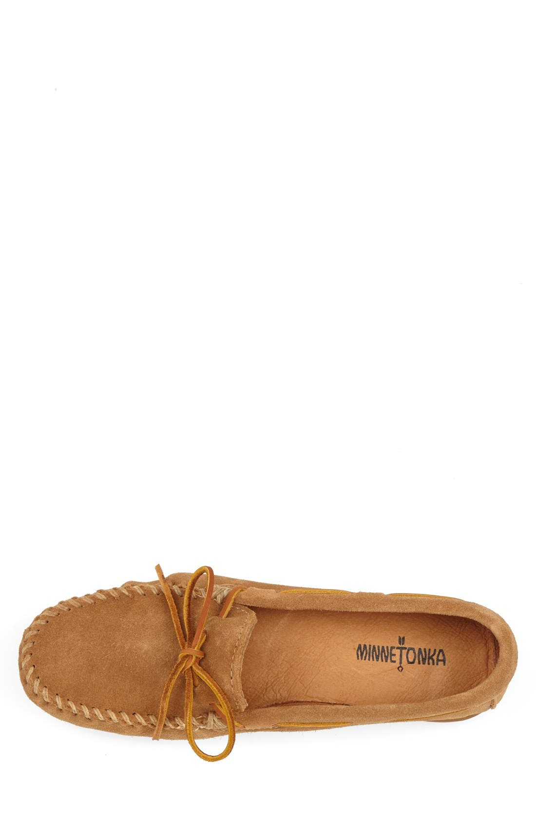MINNETONKA, Suede Driving Shoe, Alternate thumbnail 4, color, TAUPE