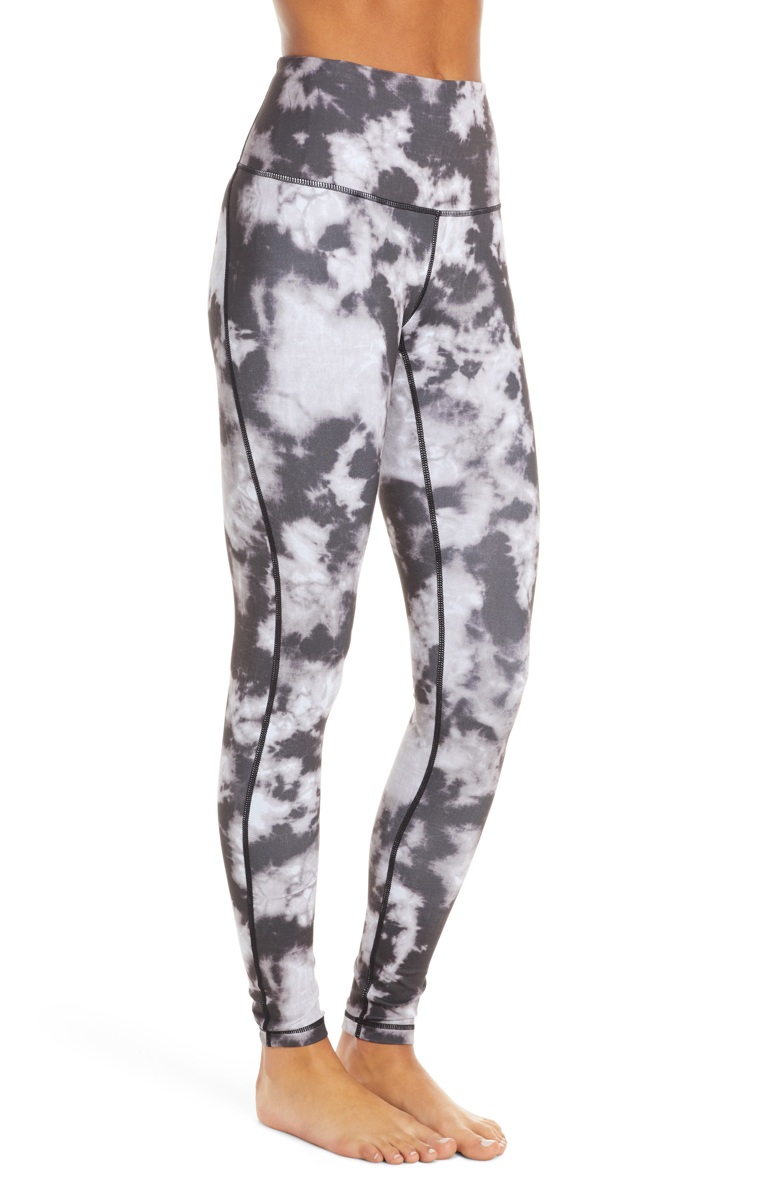 ZELLA, Live In High Waist Leggings, Alternate thumbnail 4, color, BLACK SUN BLEACH PRINT