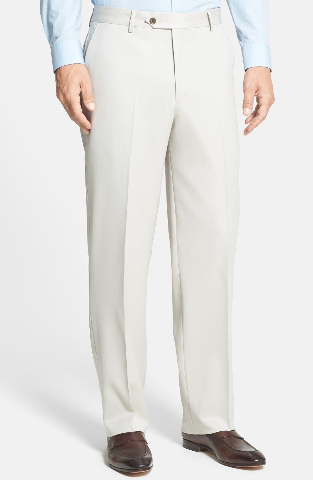 BERLE Flat Front Wool Gabardine Trousers, Main, color, STONE