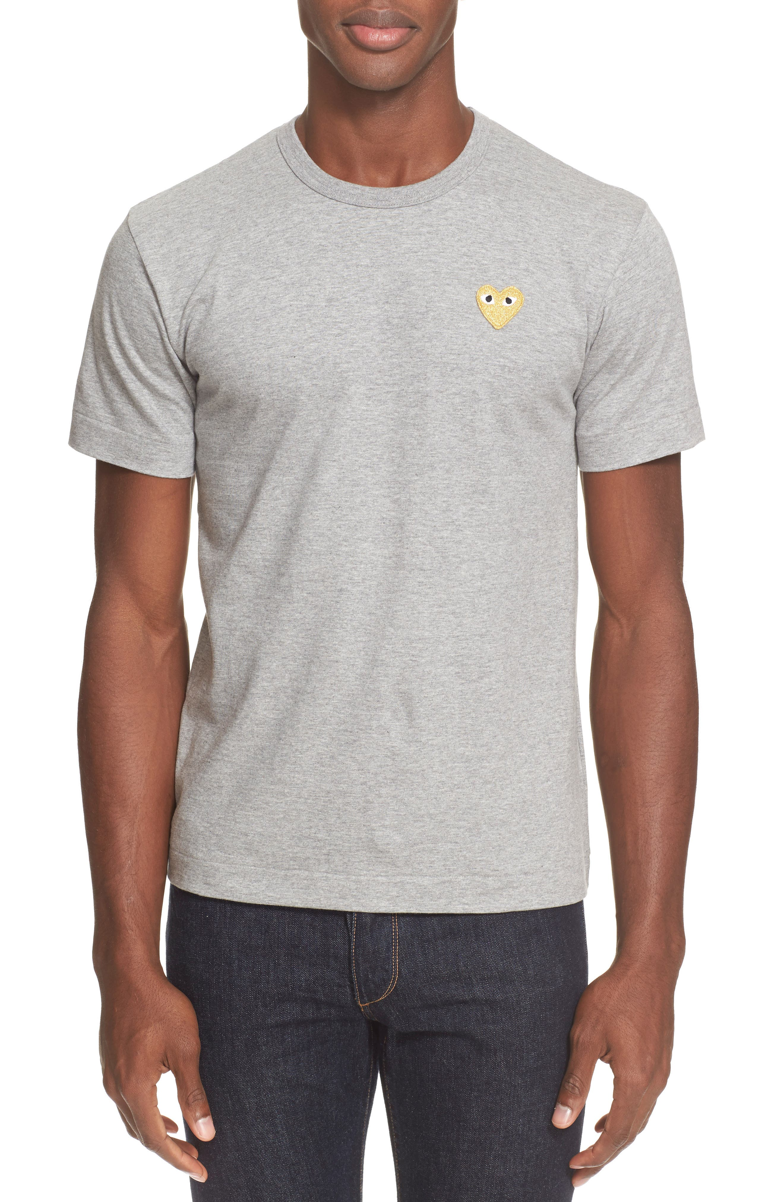 COMME DES GARÇONS PLAY Crewneck T-Shirt, Main, color, GREY 3
