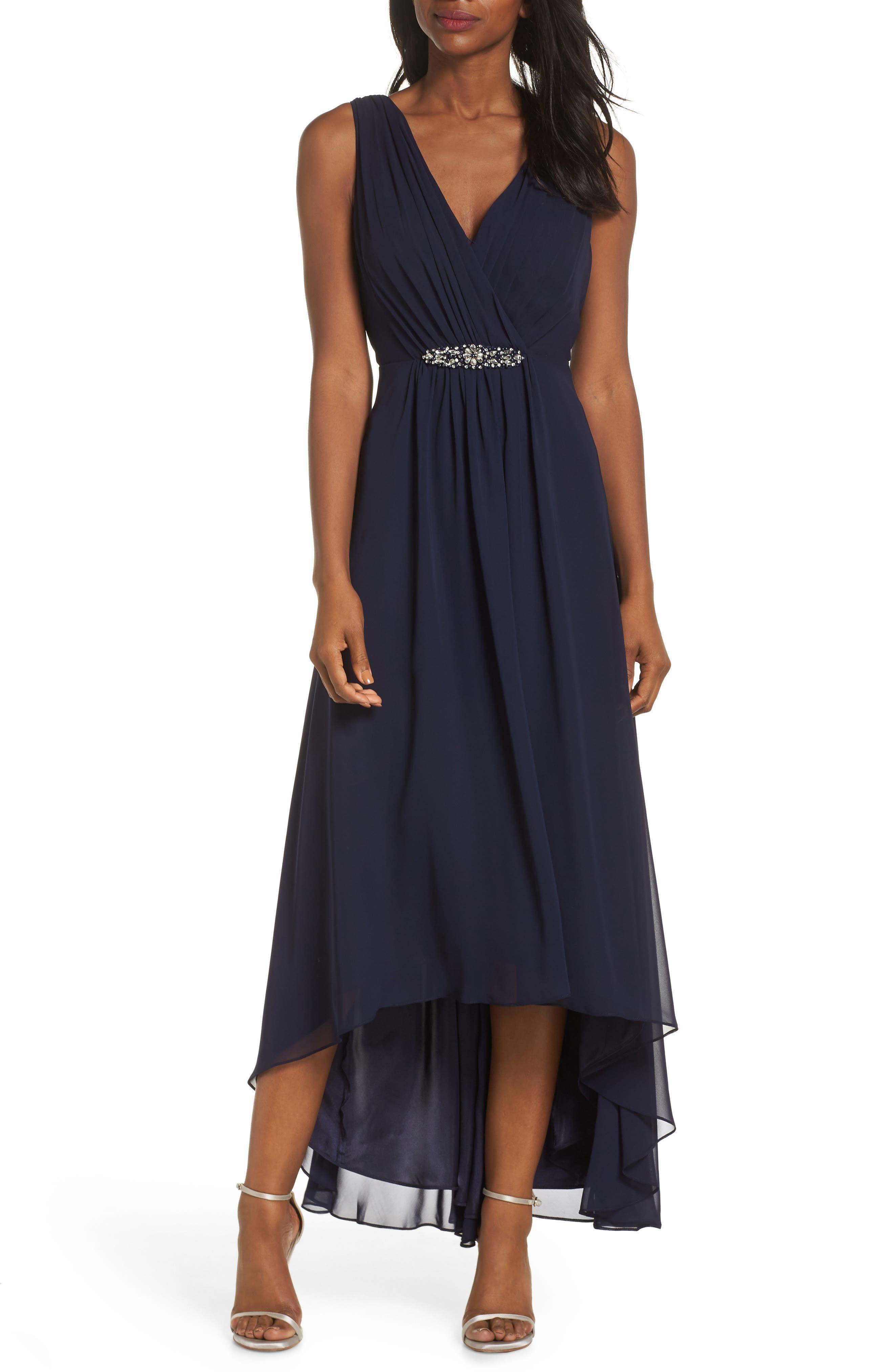 ELIZA J, Wrap Look High/Low Chiffon Dress, Main thumbnail 1, color, NAVY