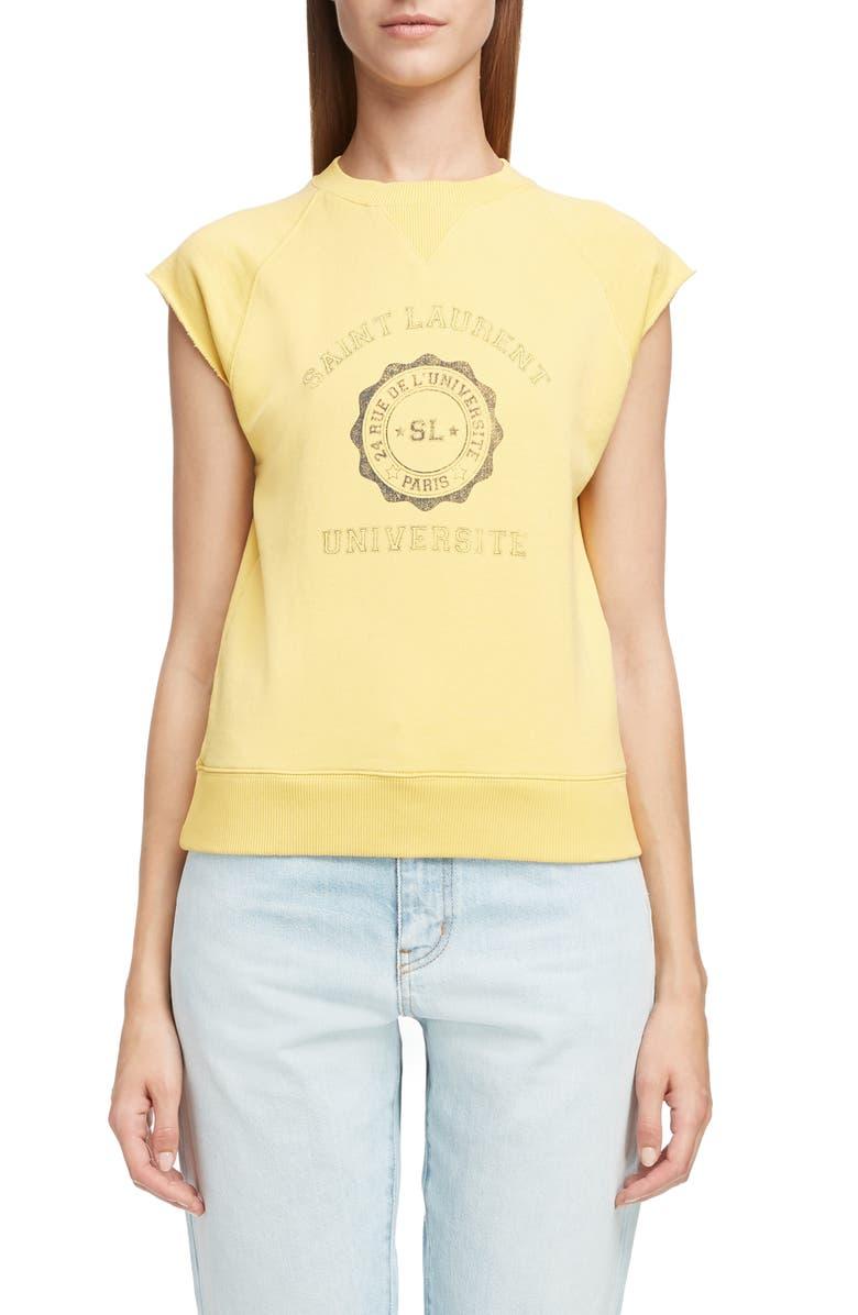 7cfdcb59 SAINT LAURENT University Graphic Short Sleeve Sweatshirt, Main, color,  JAUNE / MARINE