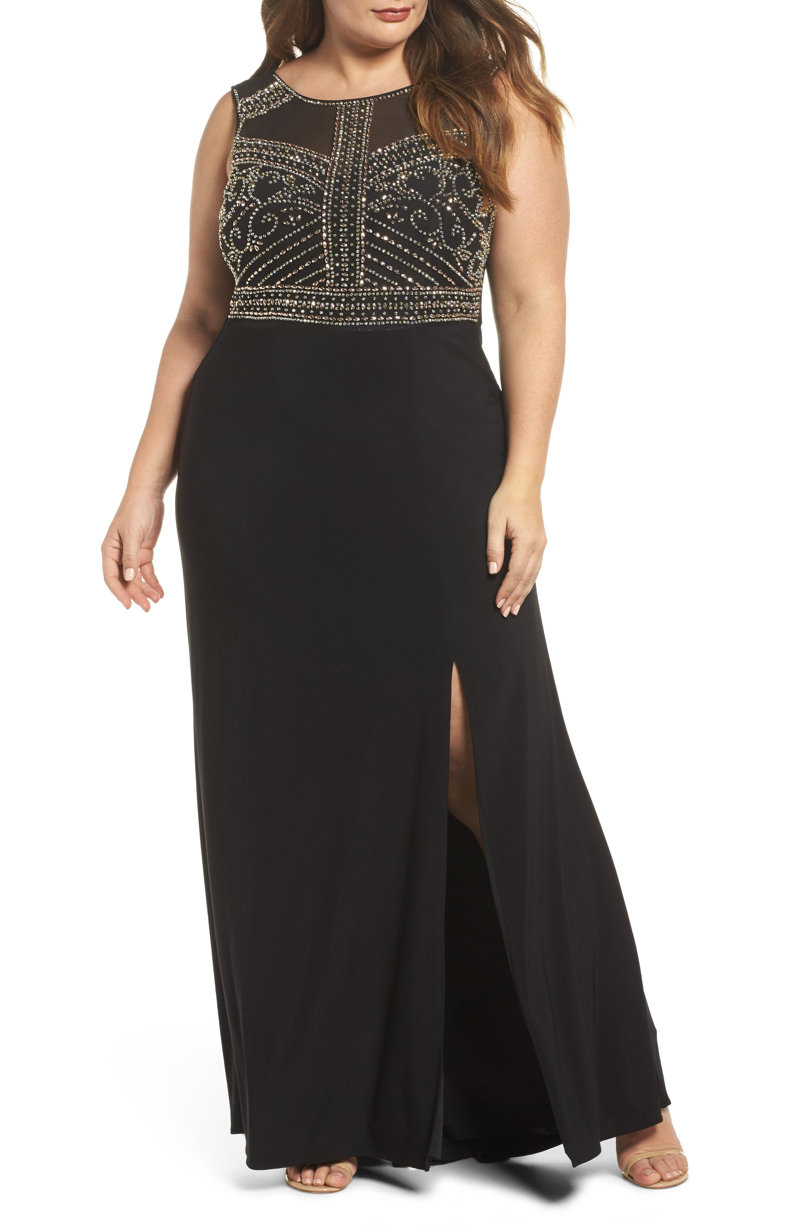 Plus Size Morgan & Co. Beaded Sheer Back Gown, Black