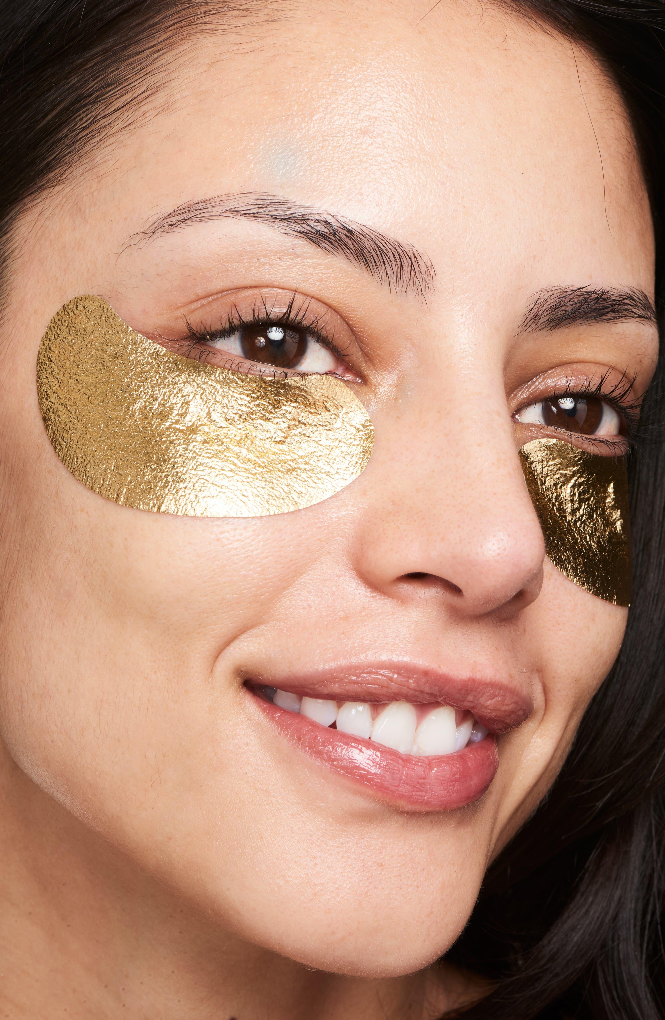 WANDER BEAUTY, Baggage Claim Gold Eye Masks, Alternate thumbnail 3, color, NO COLOR