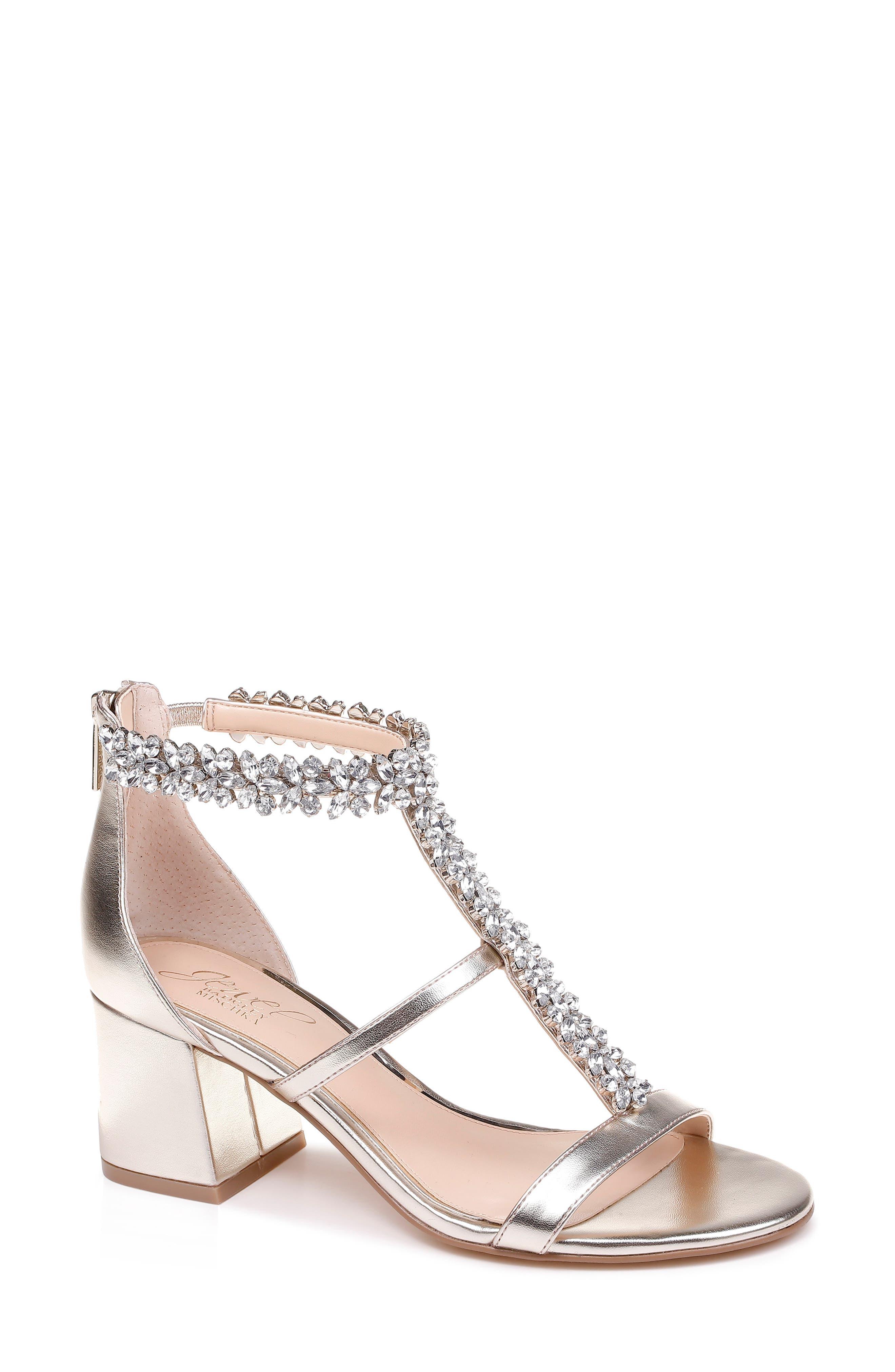 JEWEL BADGLEY MISCHKA Janica Block Heel Sandal, Main, color, LIGHT GOLD SATIN