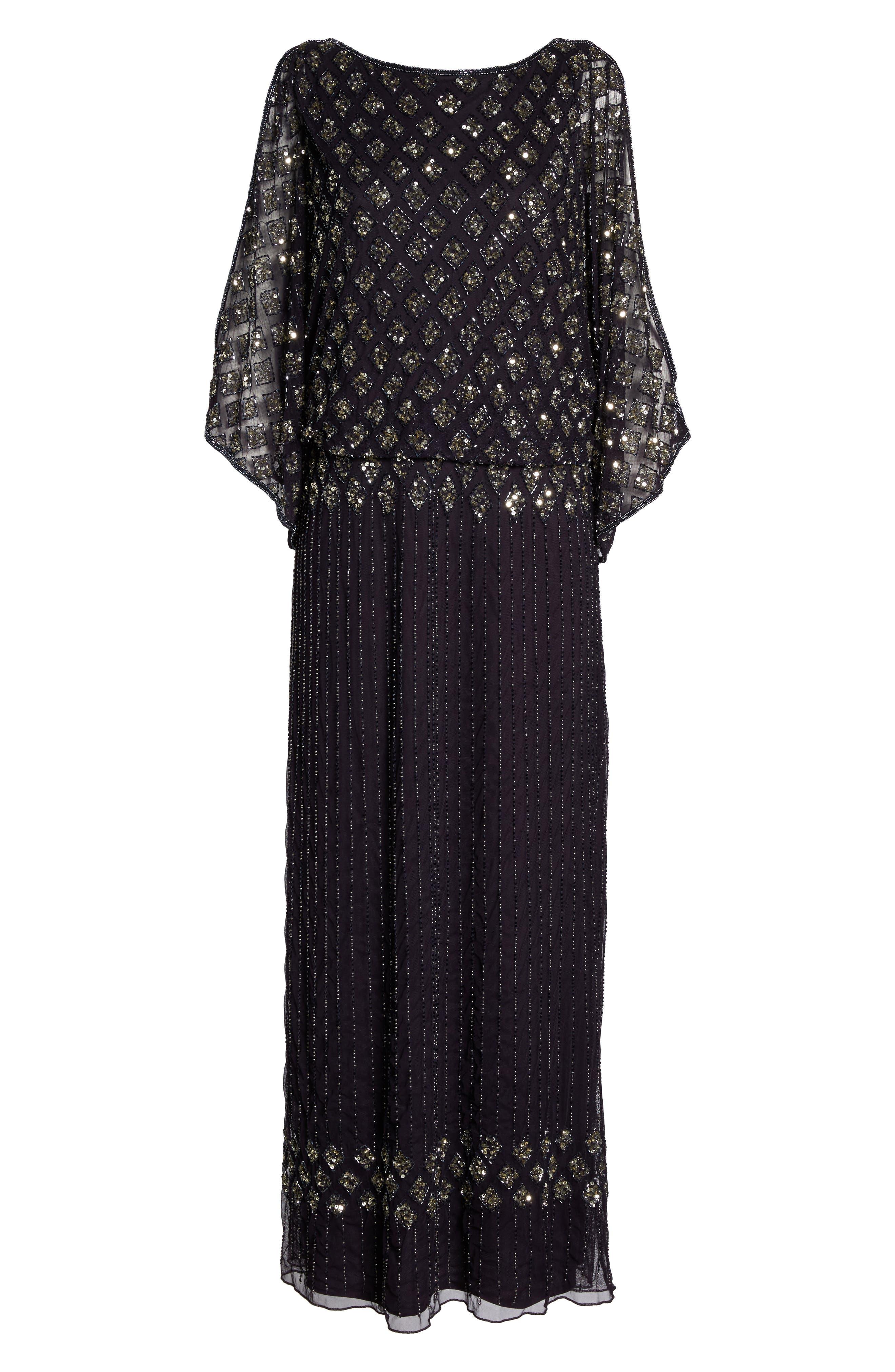 PISARRO NIGHTS, Diamond Motif Mesh Blouson Gown, Alternate thumbnail 7, color, 503