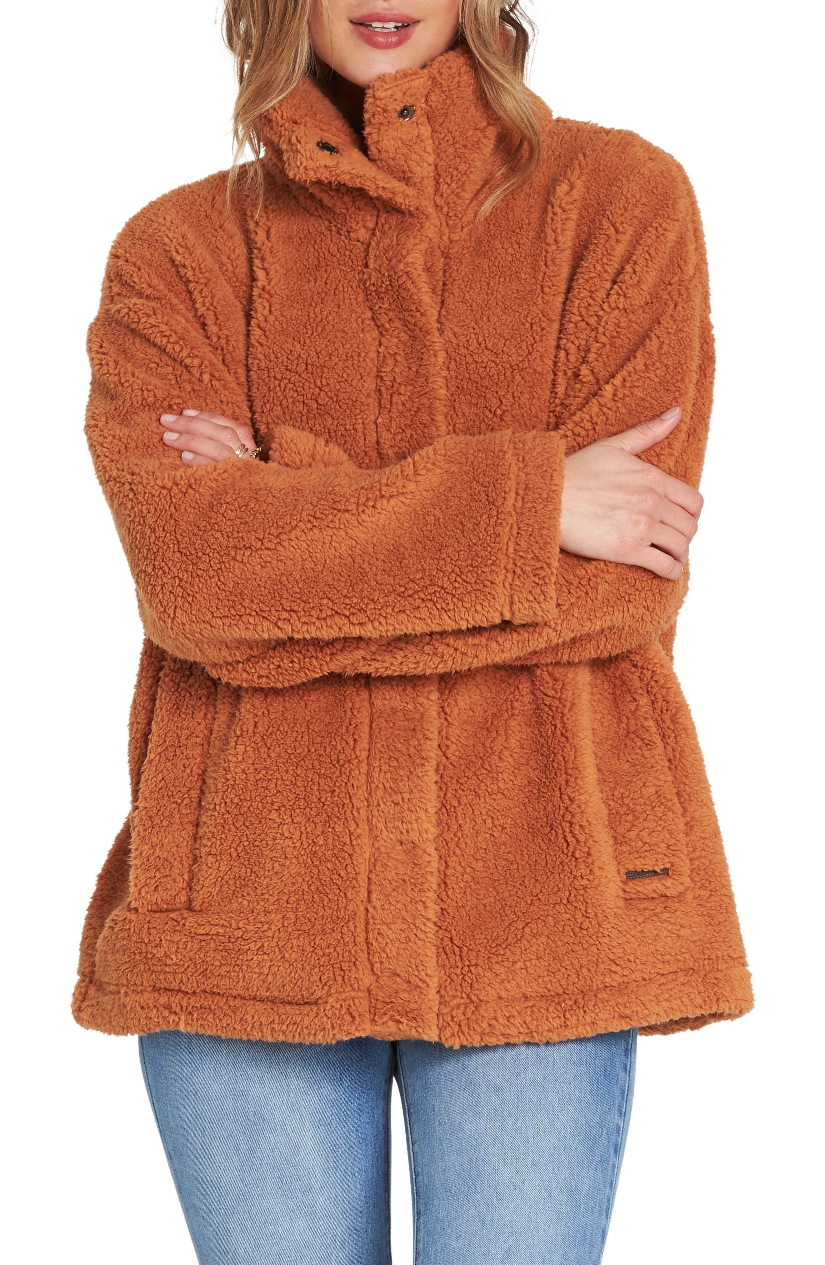 BILLABONG, Cozy Days Faux Fur Jacket, Main thumbnail 1, color, TOFFEE
