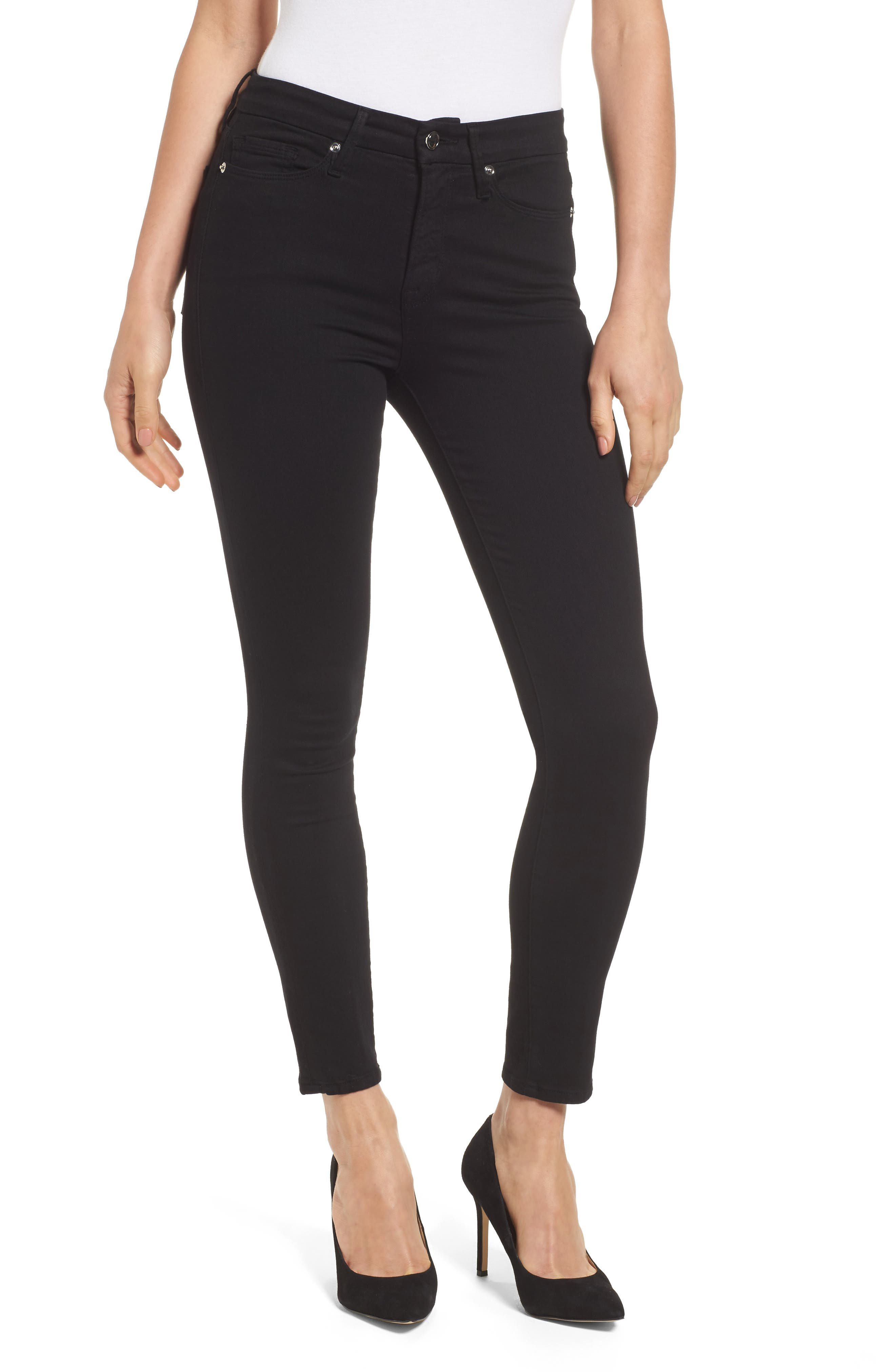 GOOD AMERICAN Good Legs High Rise Crop Skinny Jeans, Main, color, BLACK 001