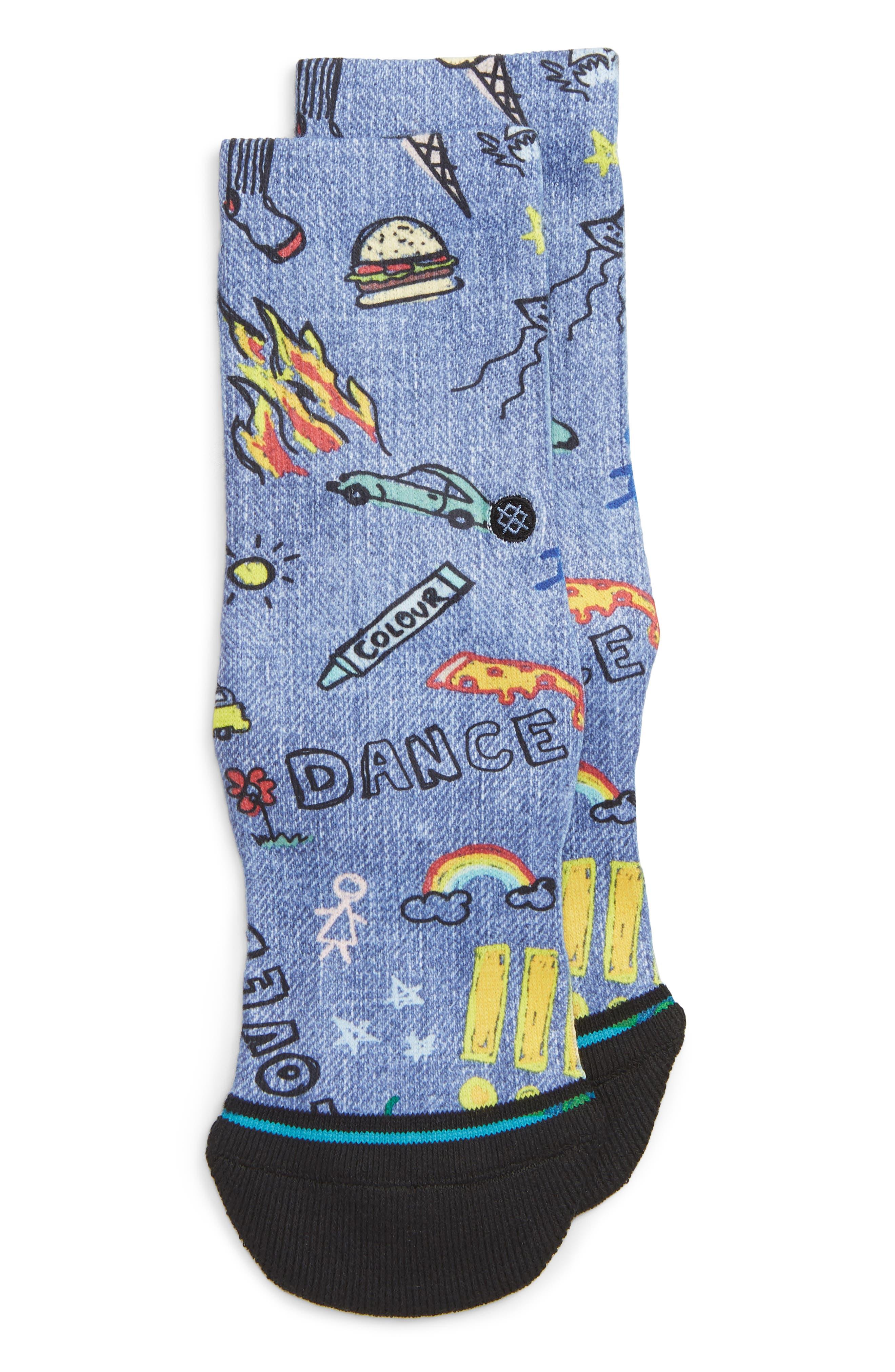 STANCE Doodle Dance Crew Socks, Main, color, BLUE